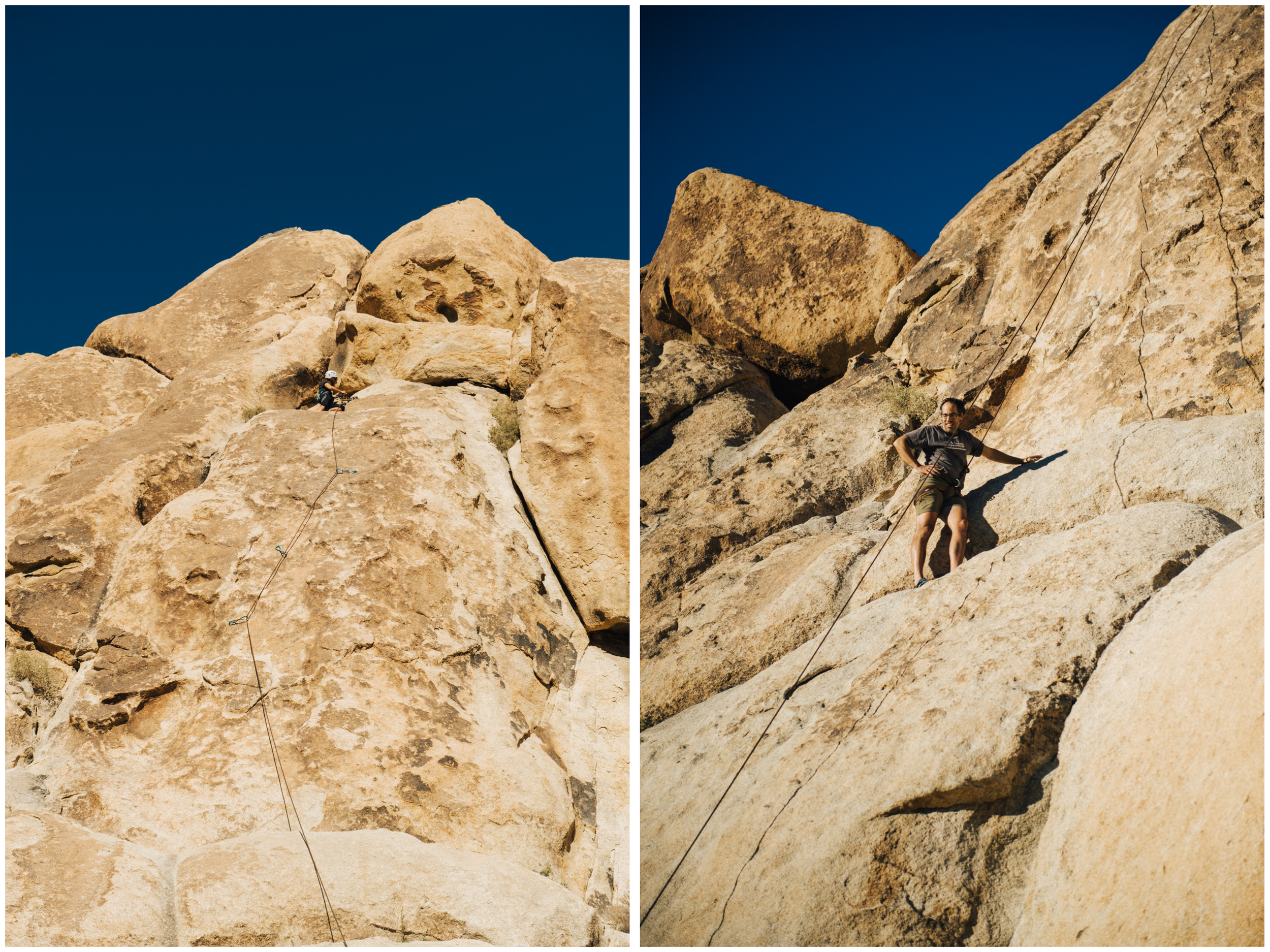 Left: Jennifer leading a crazy 5.7 (called Feminine Itch, obviously named by a dirtbag woman!)... Oh Joshua Tree, you are always so full of surprises (major runouts, missing bolts, etc.)! You never know what you'll find once up there! Right: JF resting after the 5.10c section of this route! He did awesome!