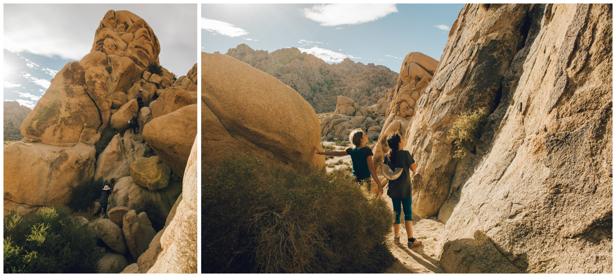 Left: scrambling up to the route. Right: trying to spot all the bolts... not an easy task in Joshua Tree!