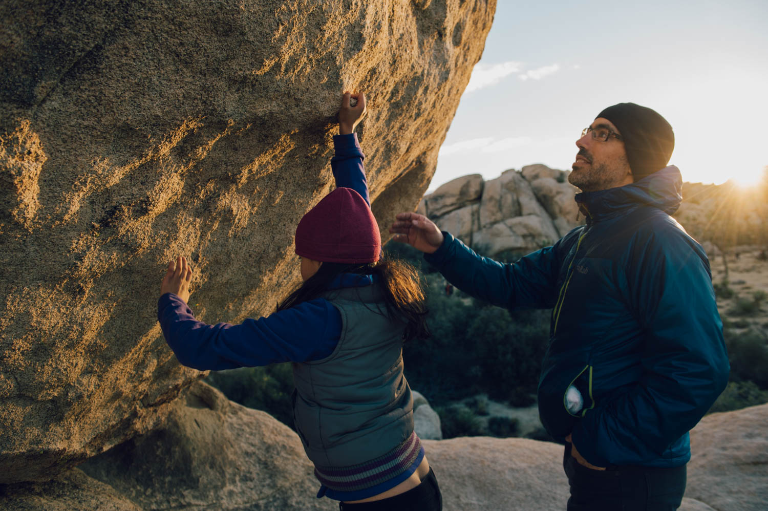 Exploring a bouldering area. They now want a crash pad for Christmas! Perfect!
