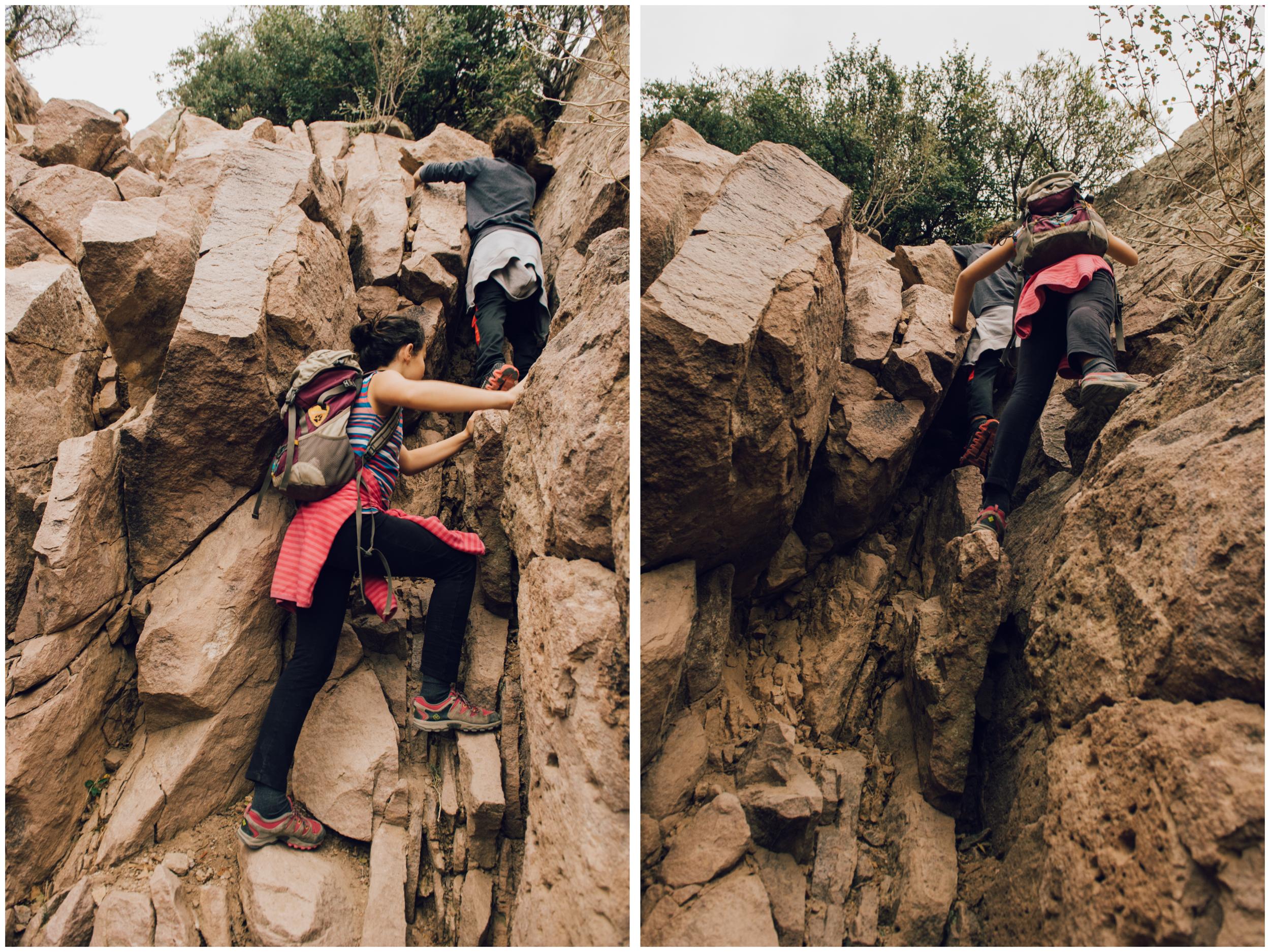 Last push before the summit... An 10 feet high rock wall!
