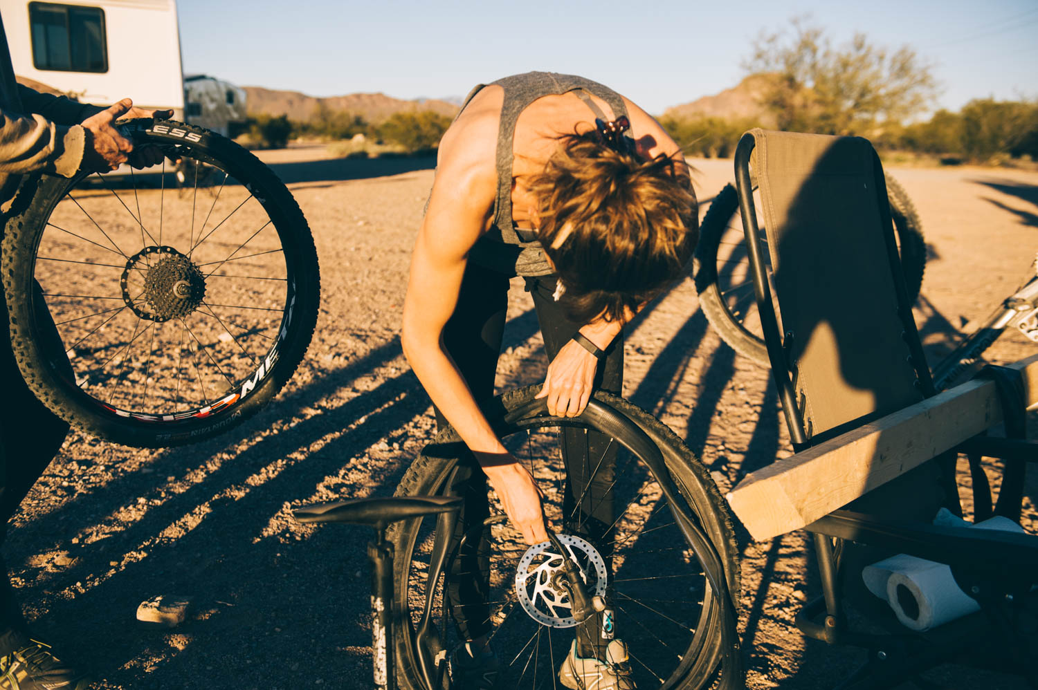 Living frugally also means learning to do your own bike (and bus!) mechanics!