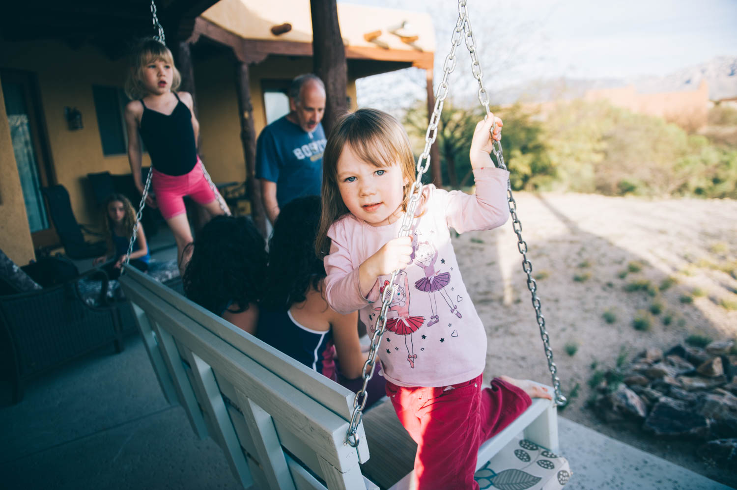We went to spend Saturday evening with this cutie and her family (Karl's sister's family), sat outside and watched the full moon rise over the Catalinas and washed our (very, very dirty) climbing ropes in their bathtub.