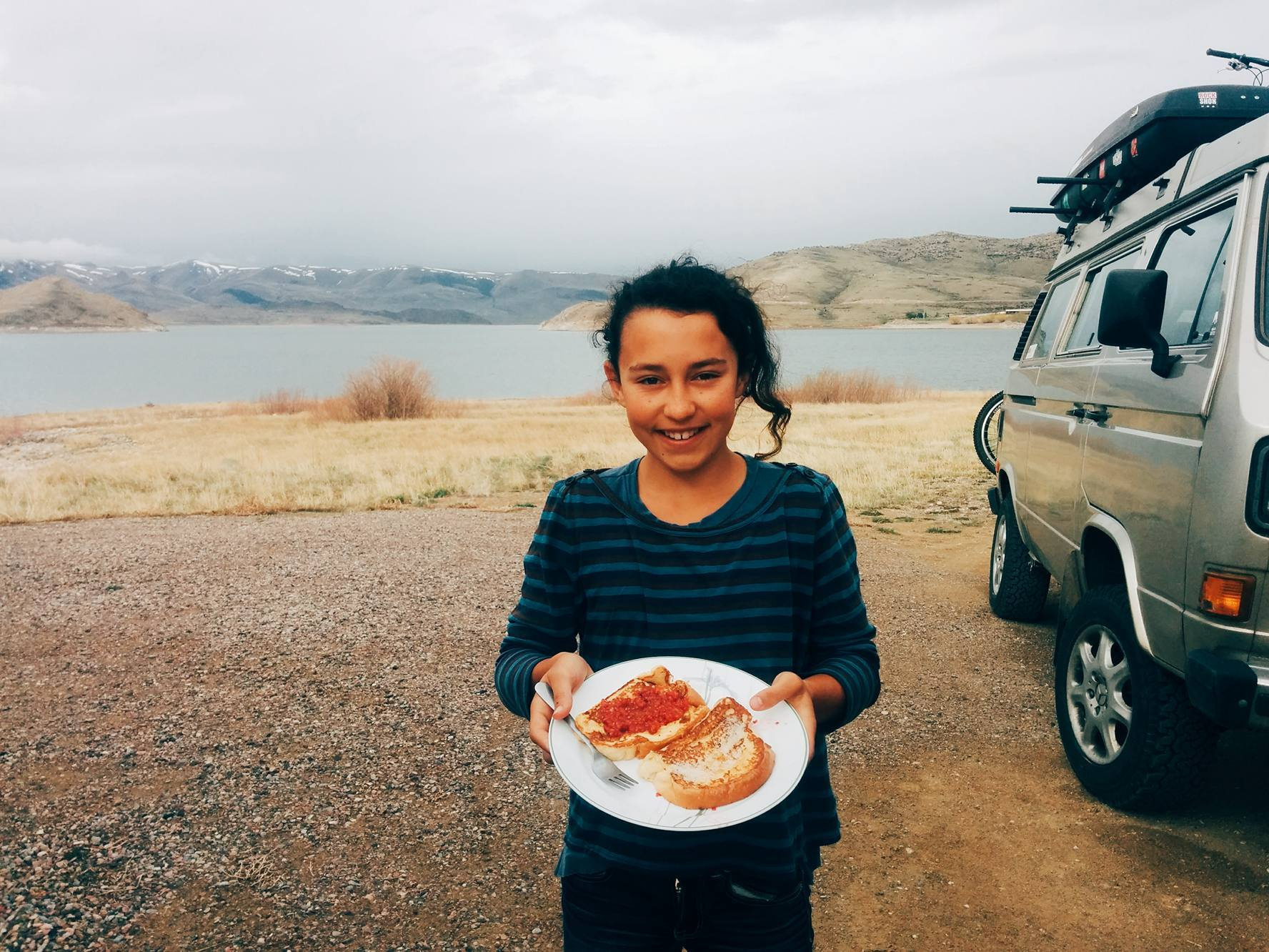 On Friday night, we camped at Clark Canyon Reservoir, near Dillon, Montana.  It's an awesome free camping spot . When we left, we stopped at our favorite Patagonia Outlet in Dillon and found some really good deals.
