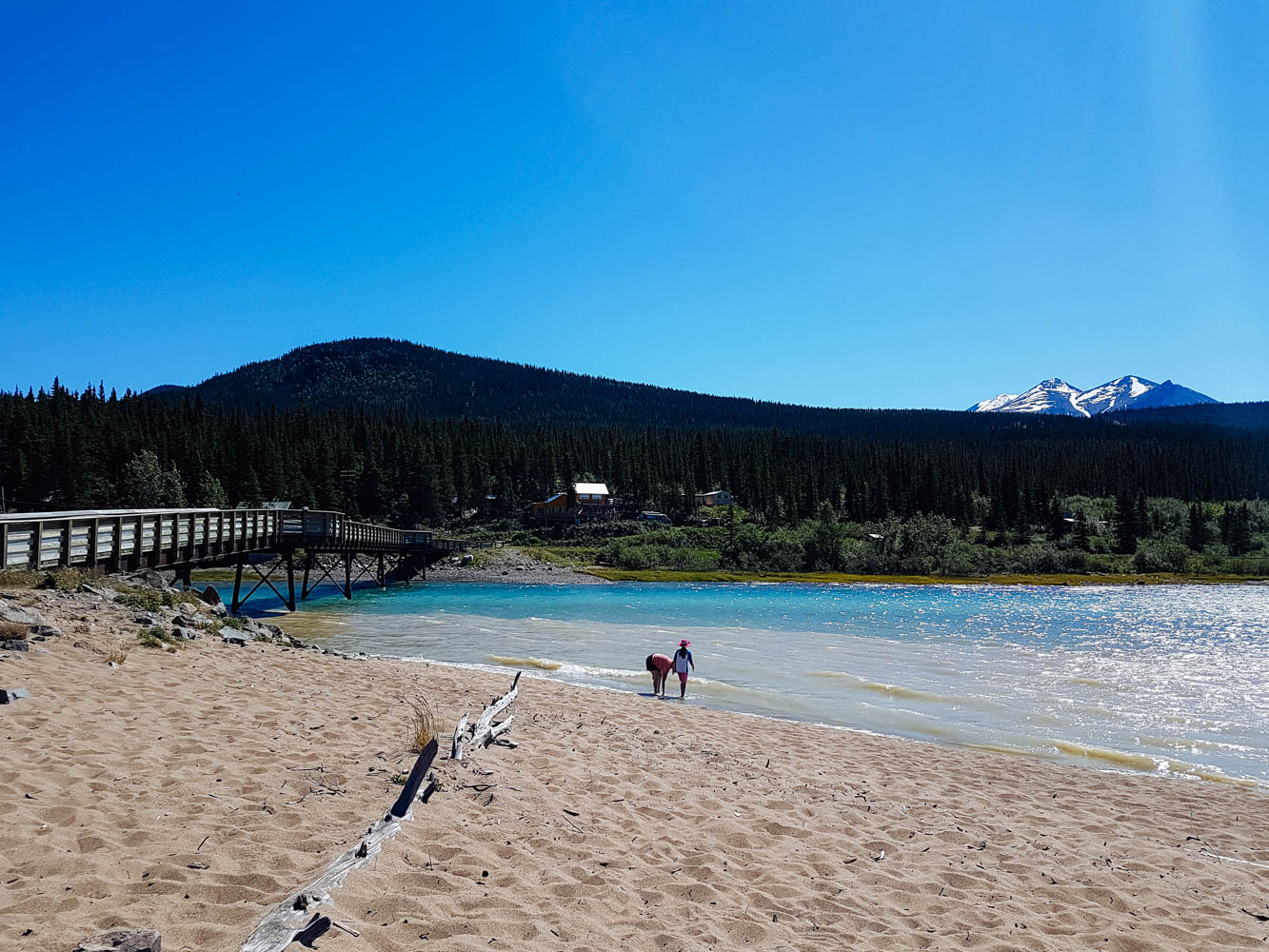 The beautiful beach in Carcross along Lake Bennett.