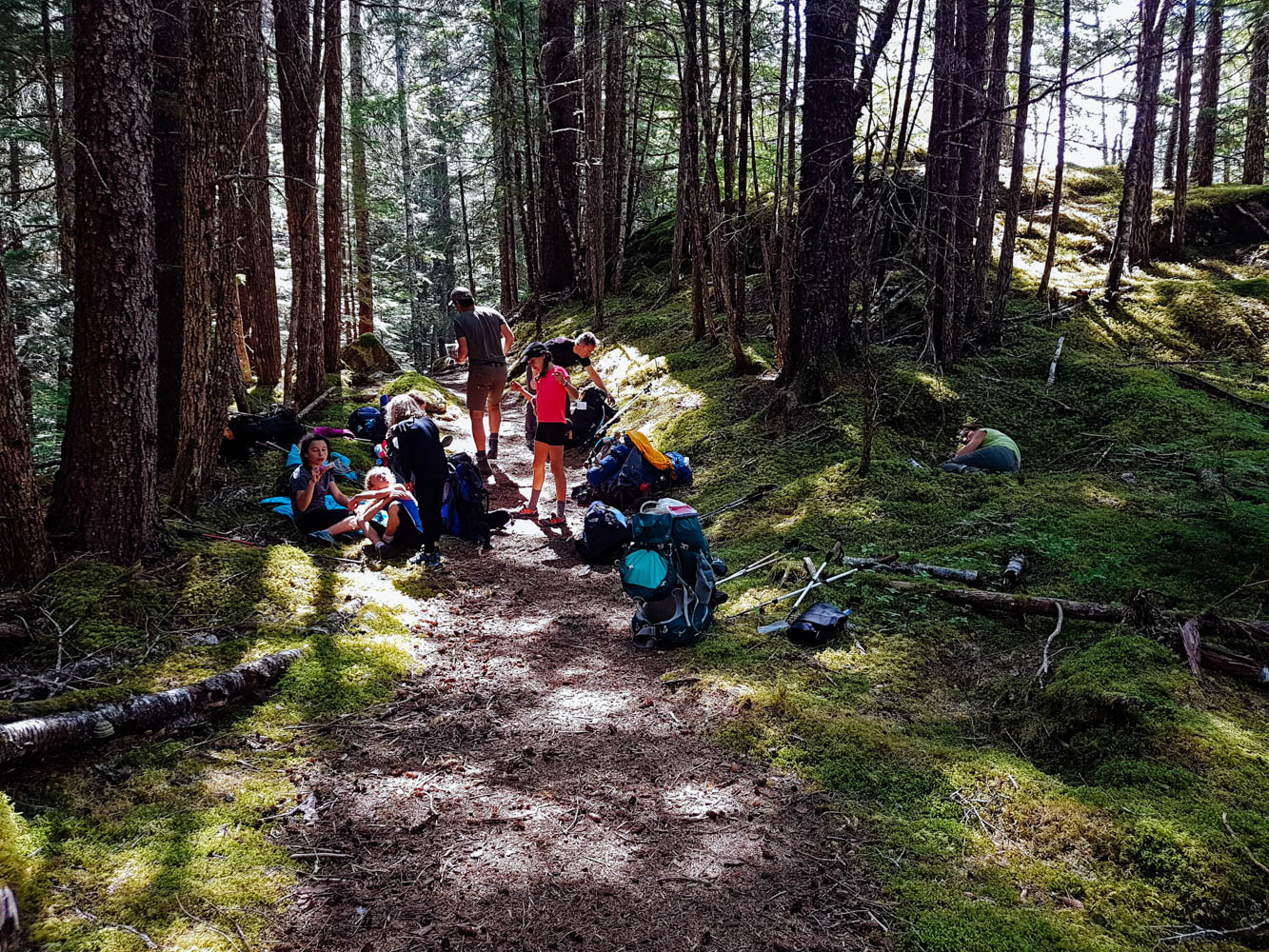 Snack break in the beautiful Alaskan Coastal Forest.