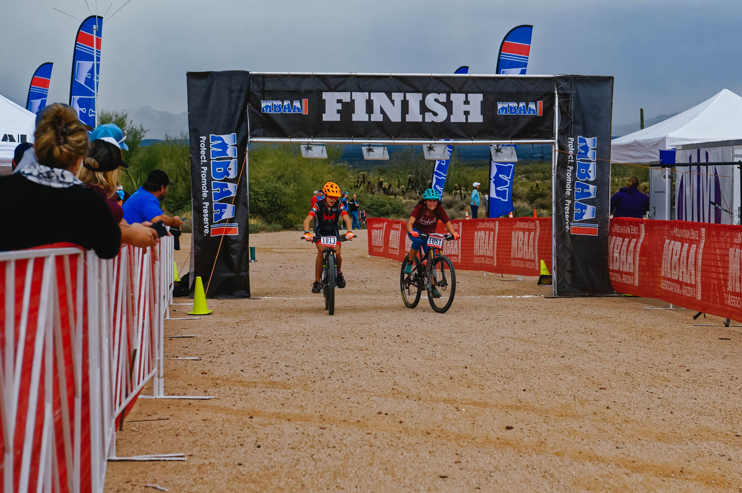 Race to the finish line with a boy in the same age category!
