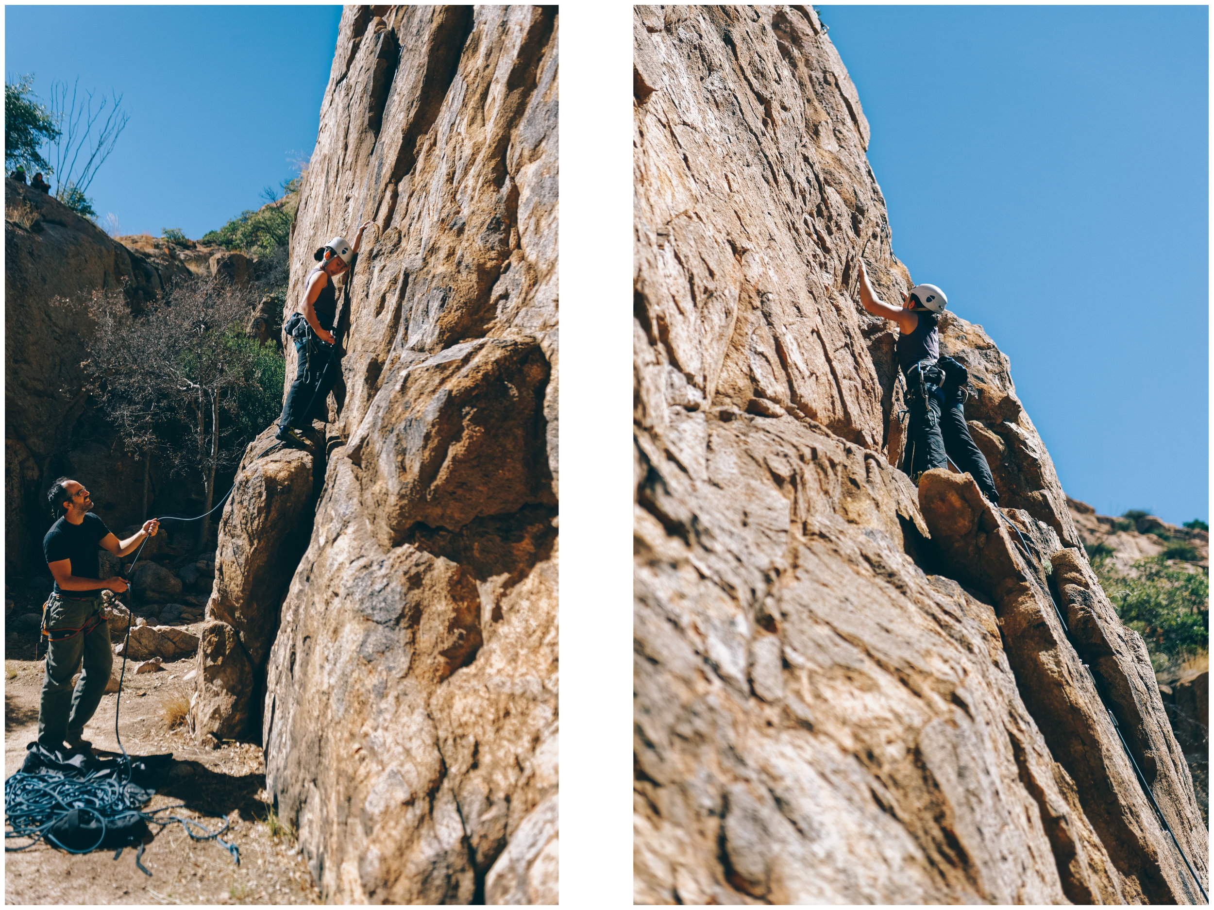 Climbing at  Vineyard Cove , a minute walk from camp.