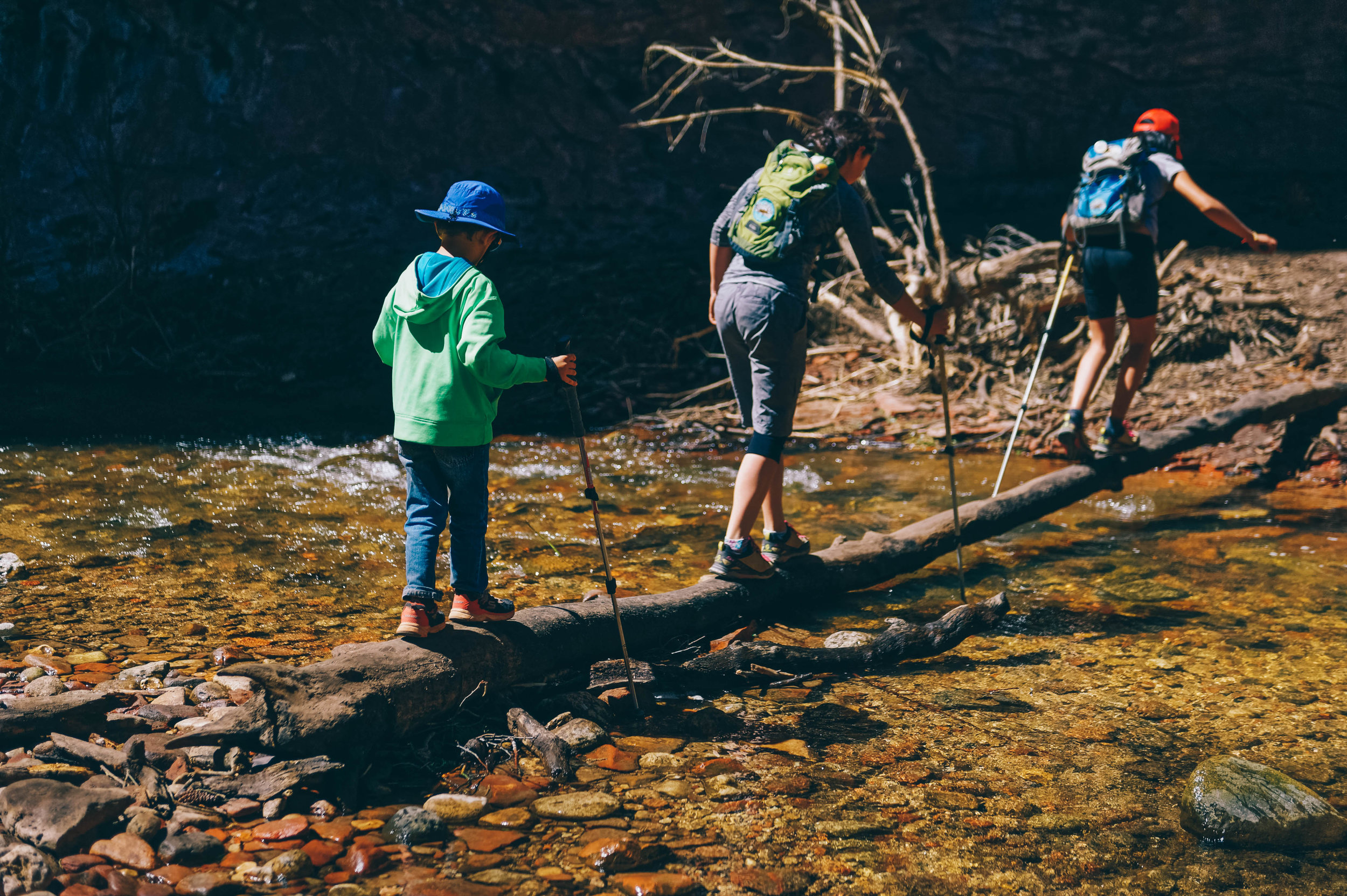 The first of many river crossings on West Fork Trail.