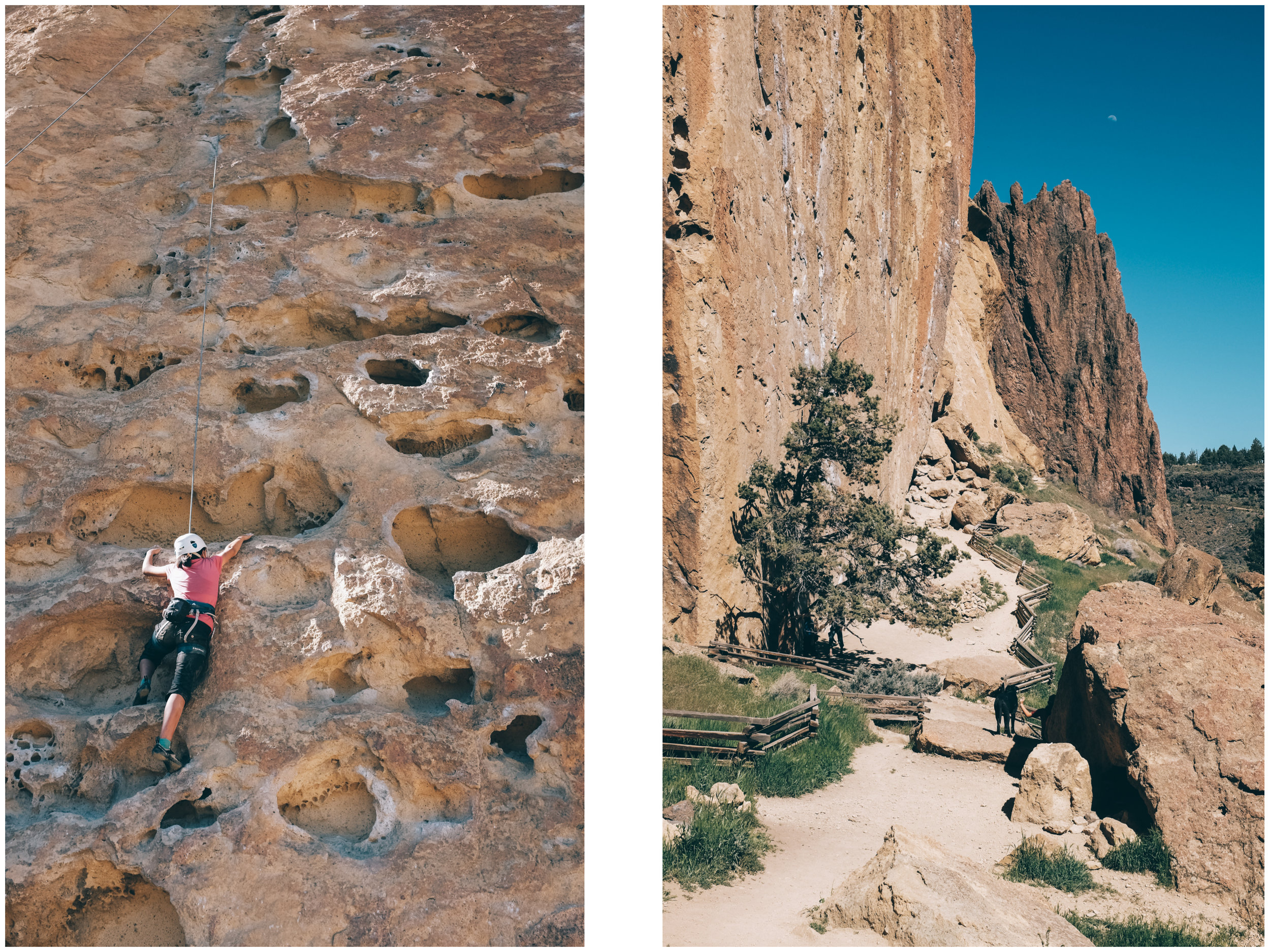 Smith Rock SP totally blew our mind. We were taken aback by how thoughtful and well managed the place is. Twenty years ago, it was pretty much only visited by climbers, in fact the bridge didn't exist and you had to do a tyrolean across the Crooked River (prior to that you could drive and camp beneath The Monument.) The trail system is great, sustainable and enviro and people friendly. The climbing scene and vibe is great and everyone, climbers and non-climbers, is very friendly. On the left, Mathilde climbing 5 gallon buckets, one of the most popular 5.8s in the park.