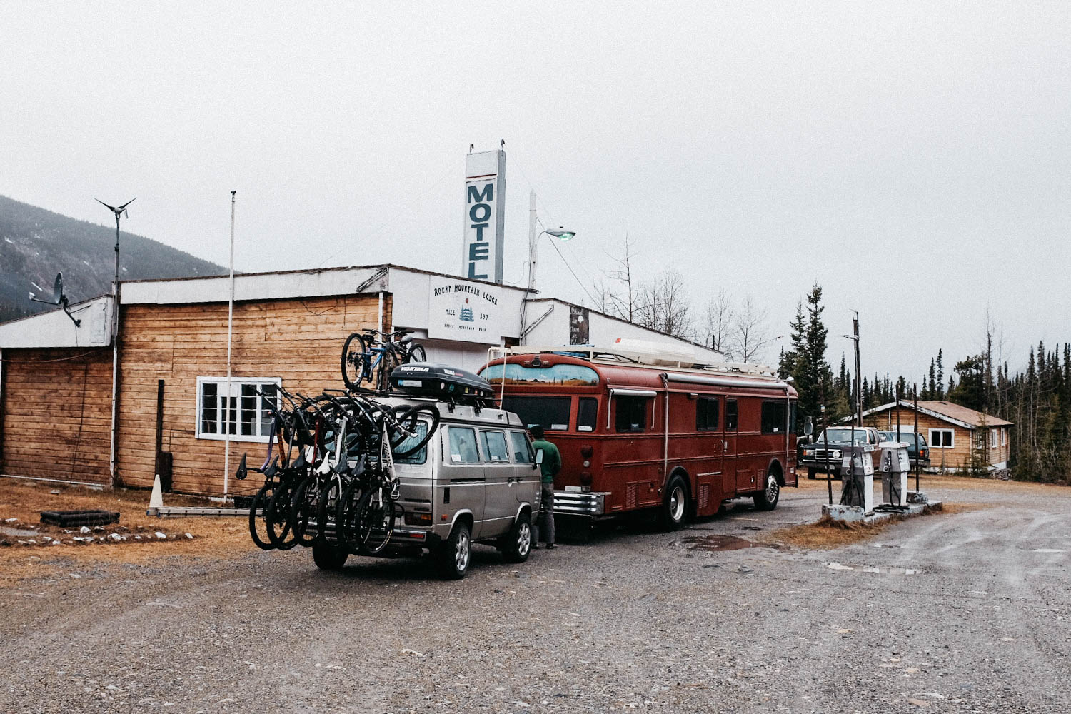 One of many similar gas stations/motels/restaurant along the Alaska Highway. The guy that lives there had grey skin. He says he spends his winters here all by himself. What a life!