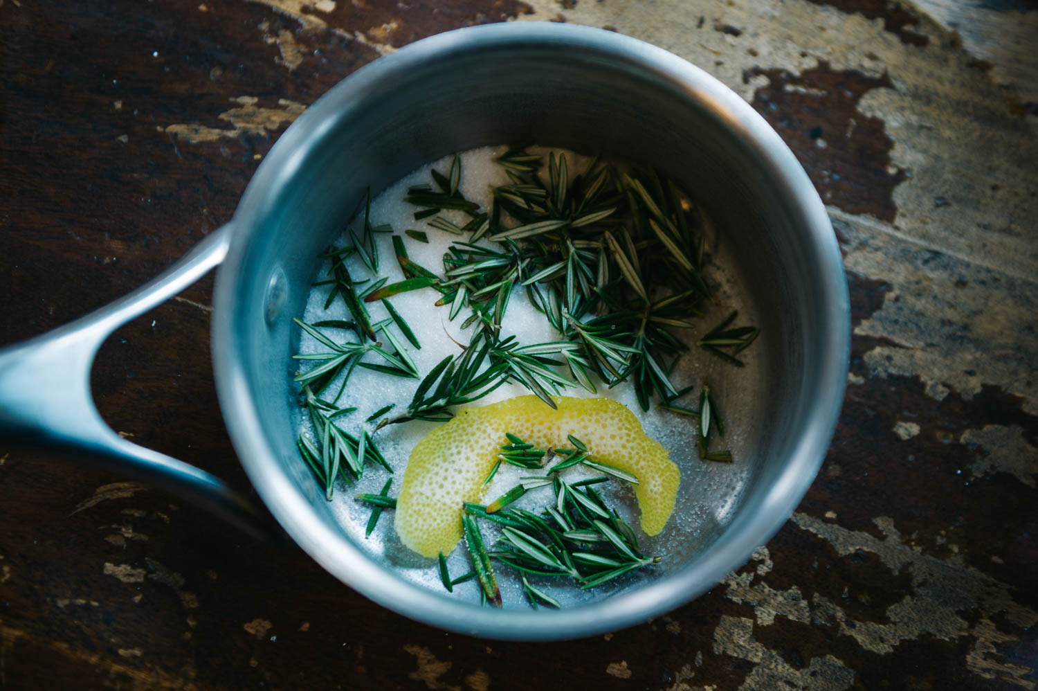 Making rosemary lemon syrup for our cocktails