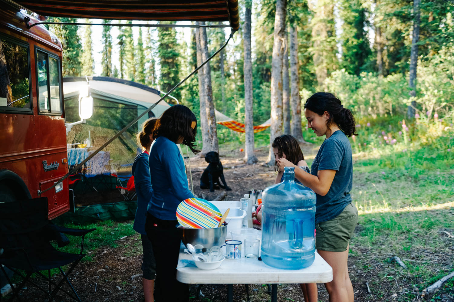 Our friends were traveling up the Cassiar and we met at Morchuea Lake for a night. Here, the girls were doing the dishes together.