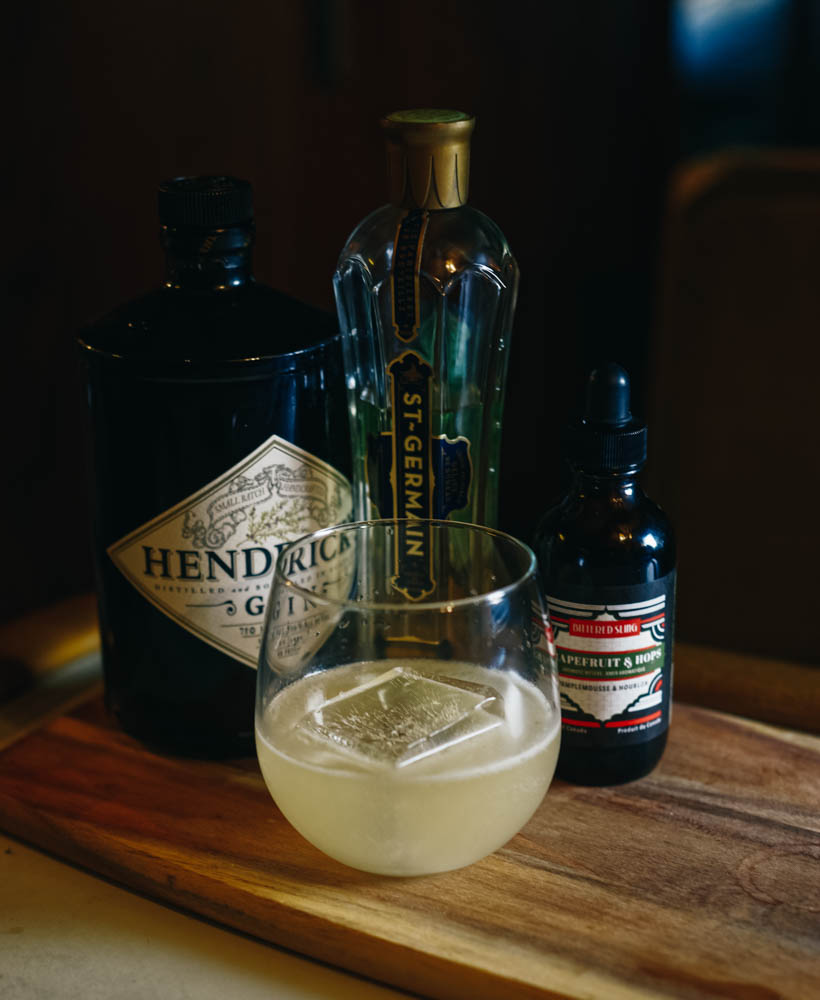 It was so hot in the rainforest that I wanted a tangy refreshing drink. So I created this.   The North Vanagon   1 ½ oz Hendricks Gin ½ oz St-Germain ½ oz Grand Marnier Juice of 1 ½ key lime ¼ oz simple syrup 5 drops of Bittered Sling grapefruit and hops bitters  Shake with ice and pour on one big cube of ice.