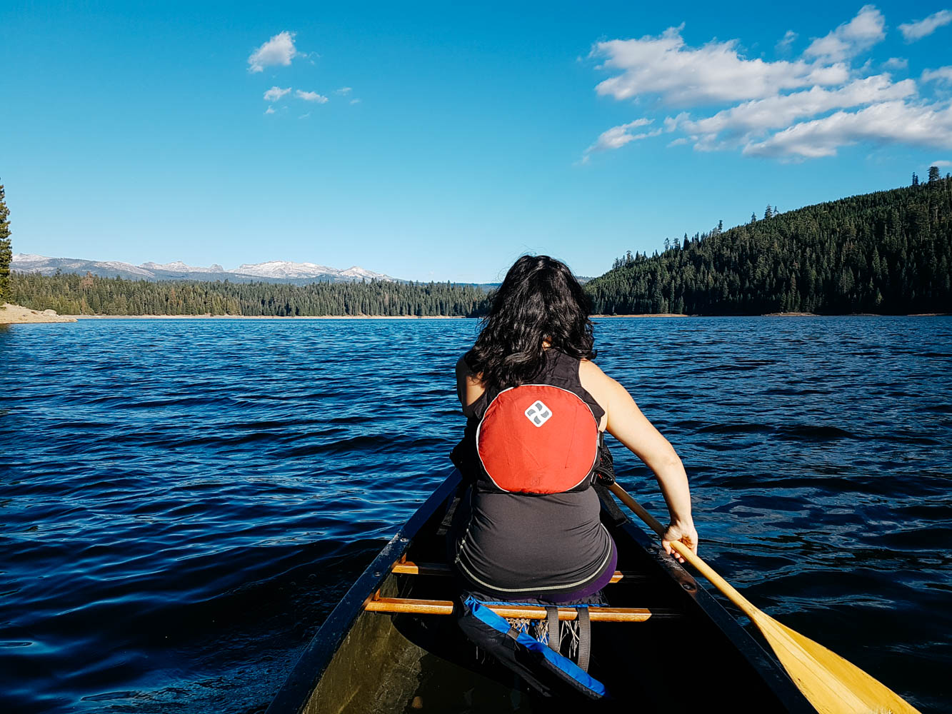 We also canoed on the beautiful lake. There is already snow on the mountain tops!