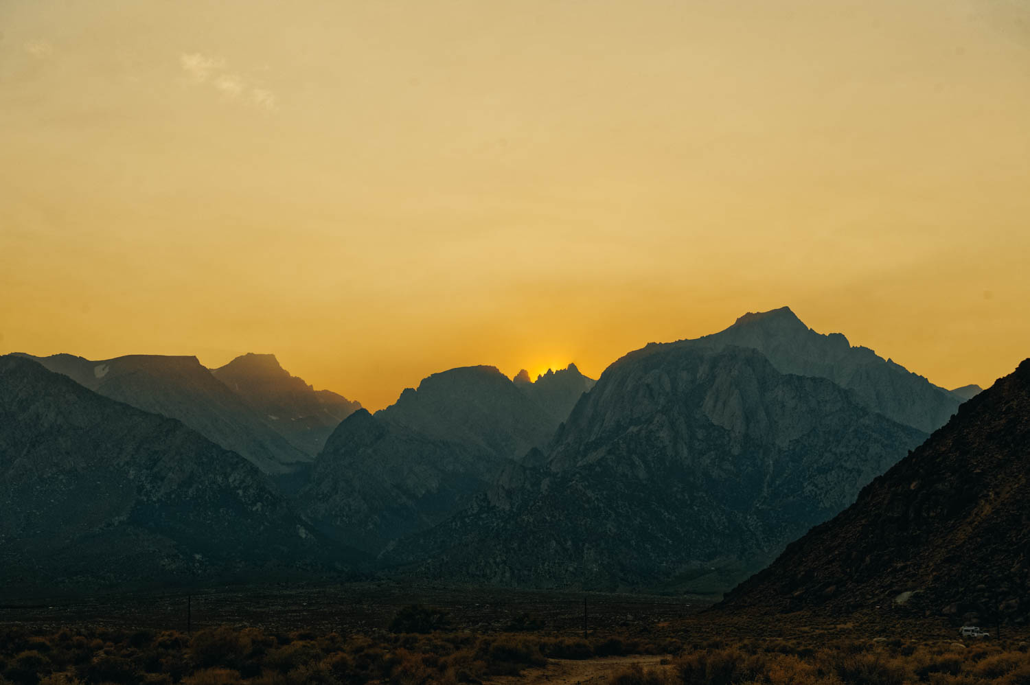 Very smoky sunset behind Mt. Whitney.