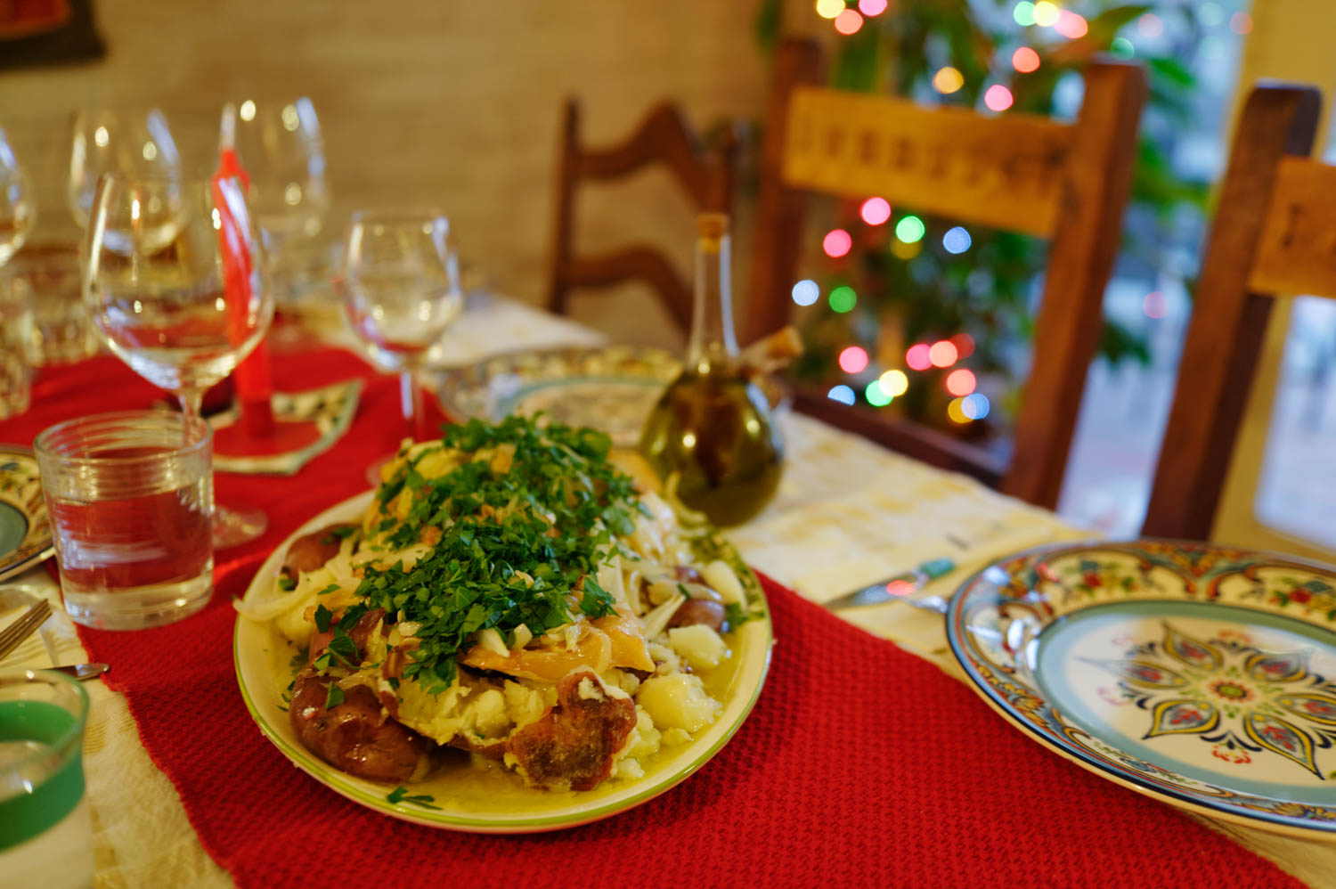 Antonio cooked us an amazing Portuguese Christmas dinner again this year. Bachalau a Lagareiro (delicious potato and cod dish, literally the olive press owner's cod).