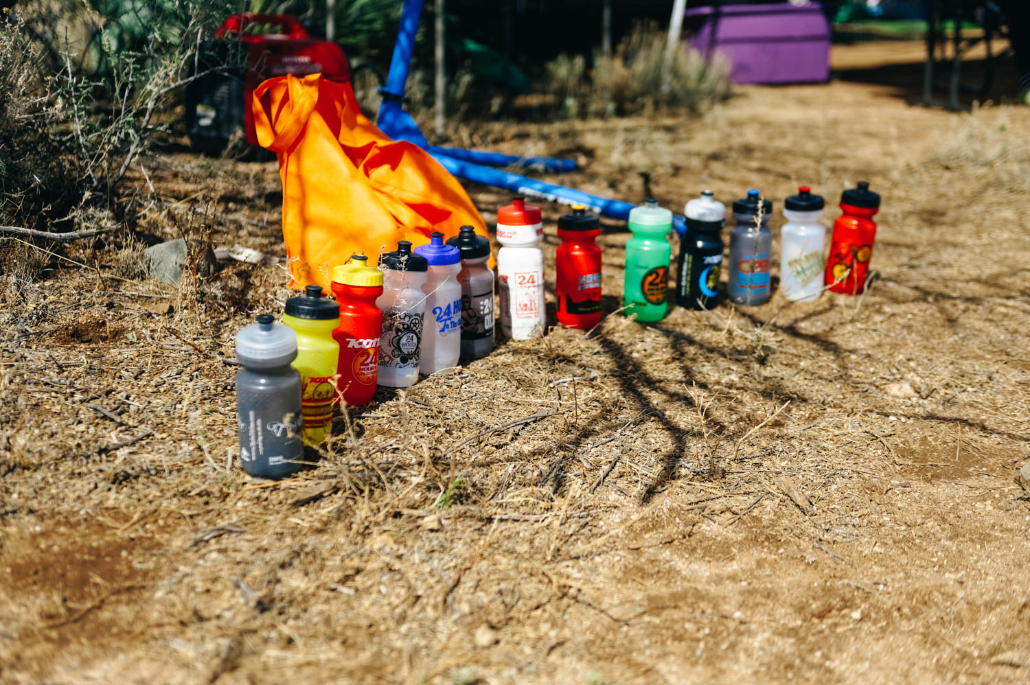 The water bottles of the 24 Hours of Old Pueblo from the last 13 years.