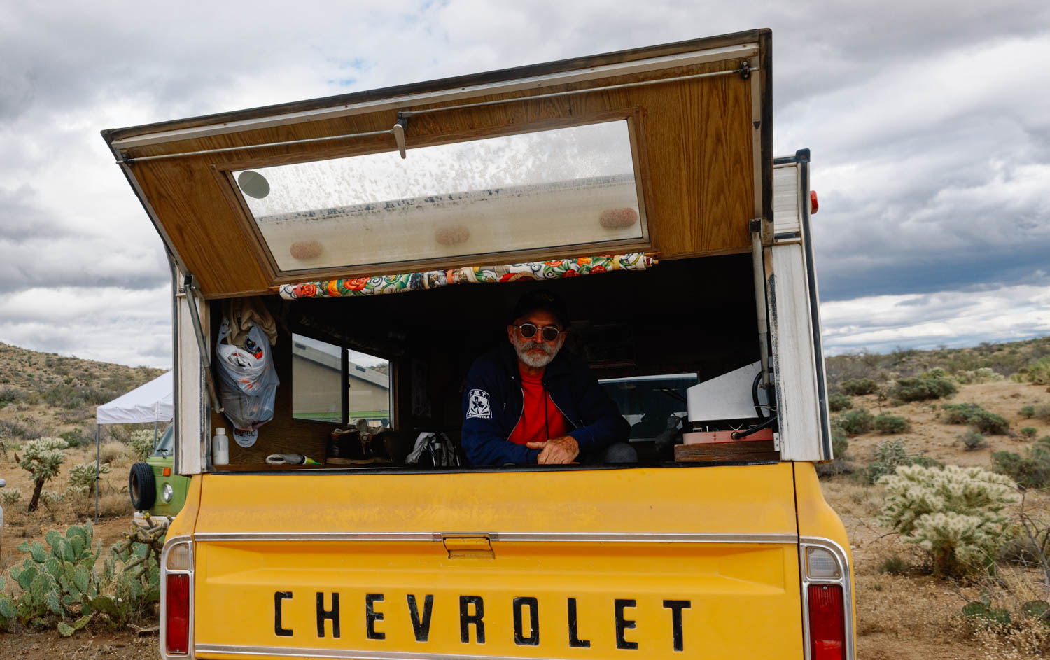 This is E.T. It's his 14th year of doing the 24HOP in solo. He is a fascinating man. He bought that truck brand new in 1973 (he calls it the coyote den). He is a fire fighter and was sent to help during Hurricanes Katrina and Rita and the big fires of California over Christmas. He's worked in Tok, Alaska and lives in a remote rural area near the Mexican border. He speaks Portughese and Spanish and asks the most interesting questions.