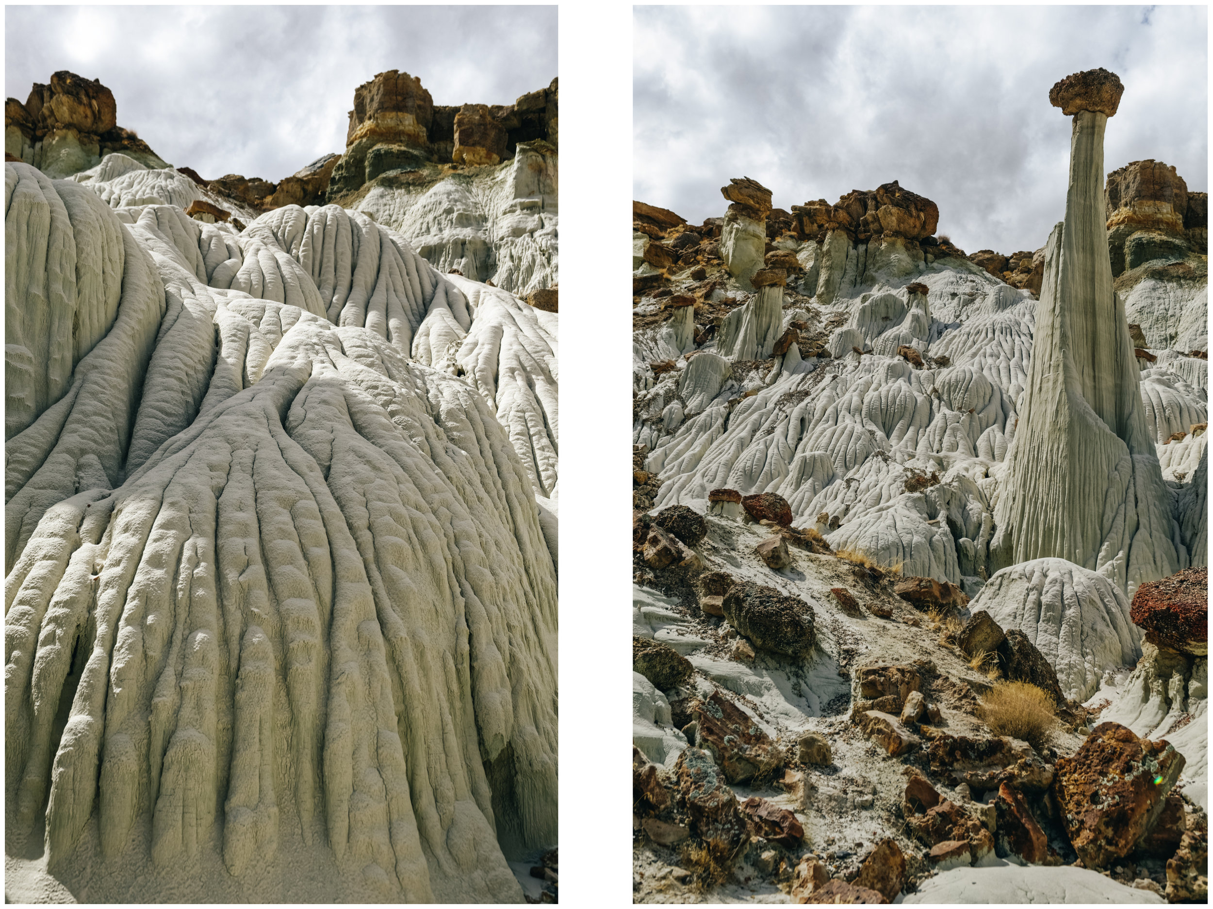Left: eroded slope. Right: fluted bedrock.