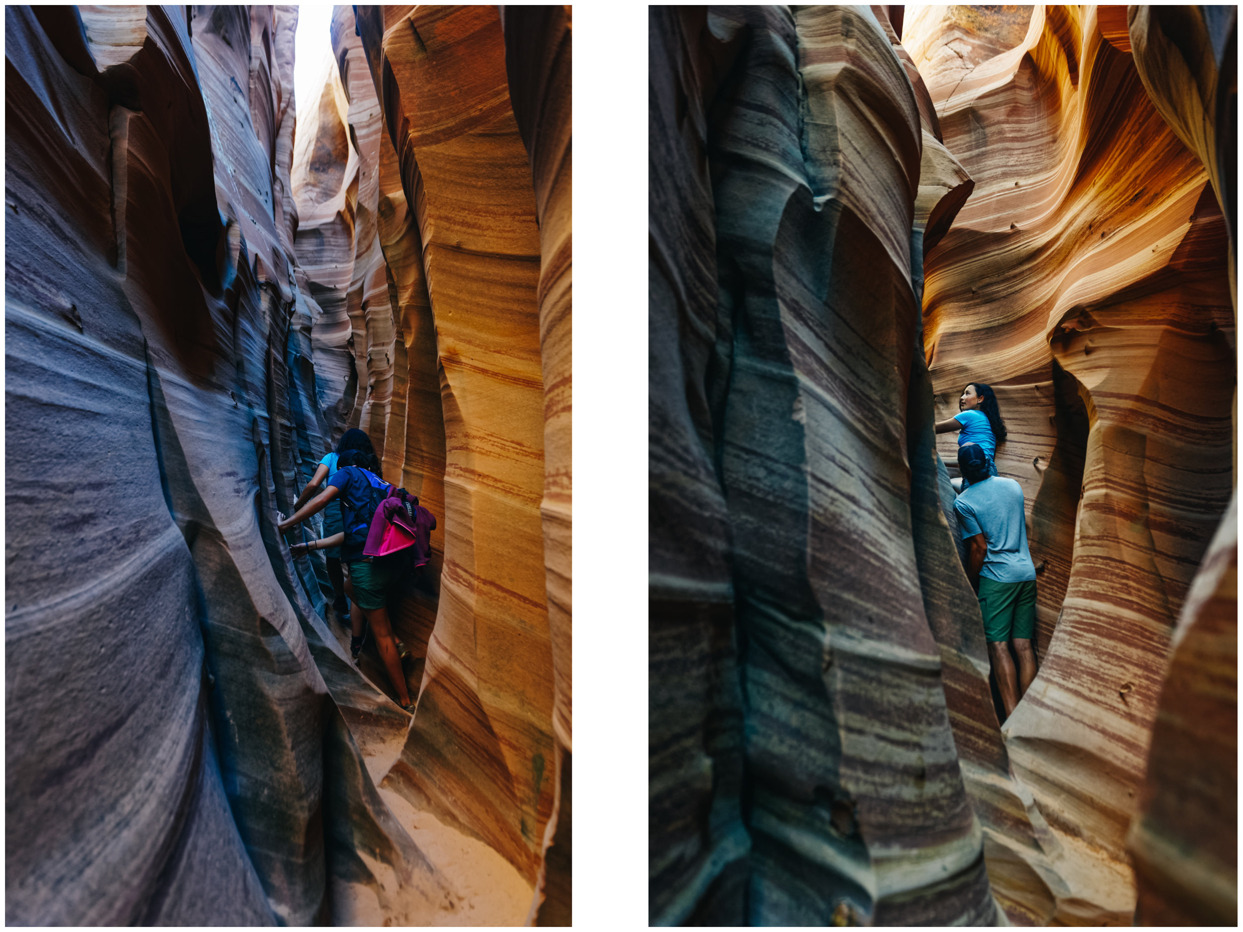 Left: int the narrowest and most beautiful part of Zebra Canyon. Right: JF helps Mara down a steep section.