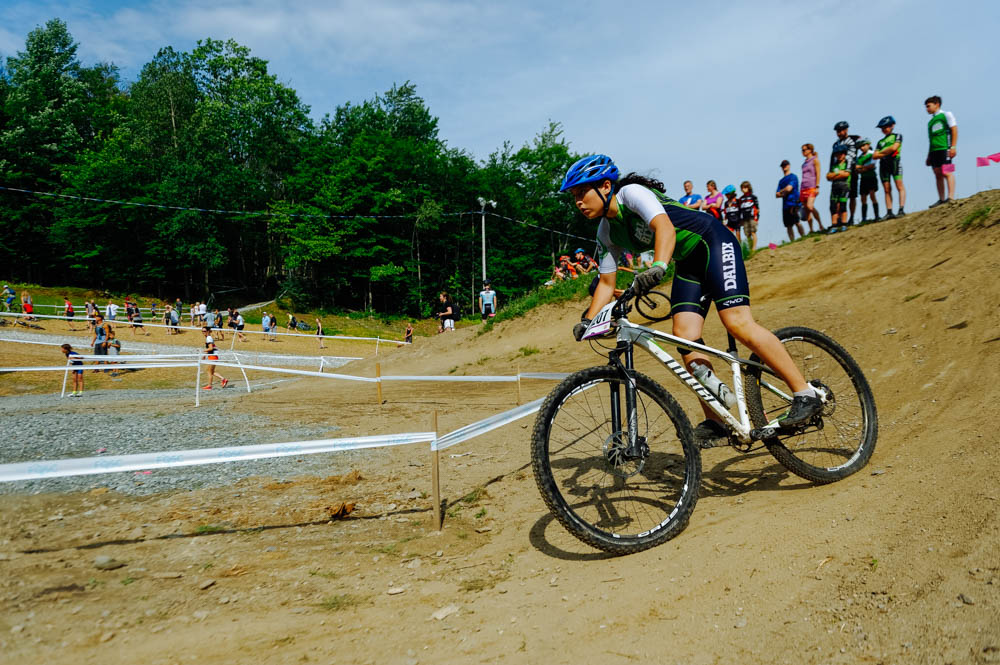 Aïsha on the first lap of the Mont Bellevue XCO Quebec Cup in Sherbrooke.