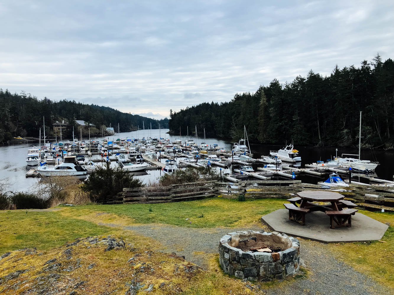 The view from our beautiful campground - Pedder Bay RV Resort and Marina.