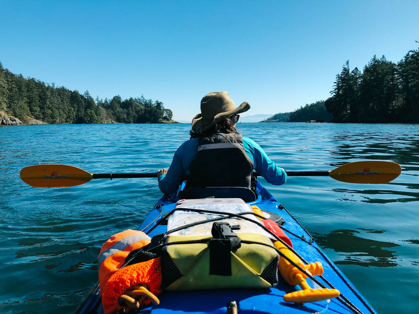 Mathilde and I when on a paddling date. It was so beautiful, seals were playing hide and seek around our kayak, a trumpeter swan landed beside us and a bald eagle took flight nearby. We could even see the snowy peaks of Olympic National Park in the US in front of us.