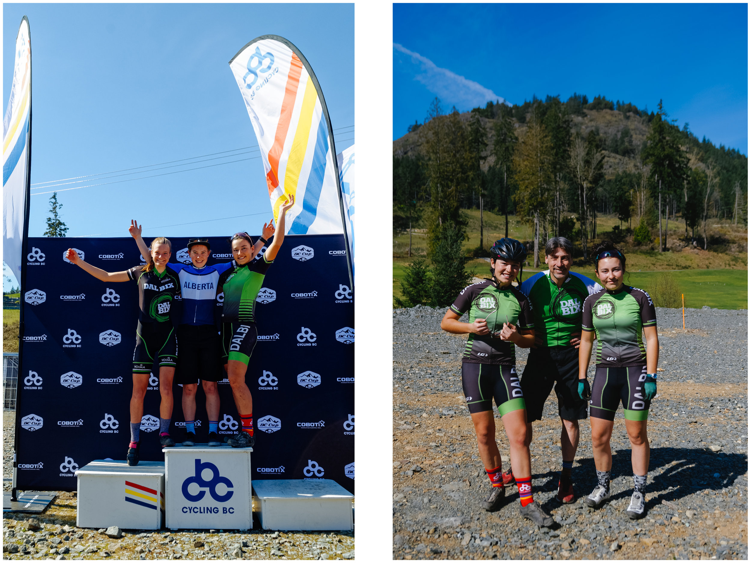 Left: Mara sharing the short-track podium with one of her teammate from Dalbix. Right: Mara and Aïsha with their wonderful coach who has been training them from afar since December.