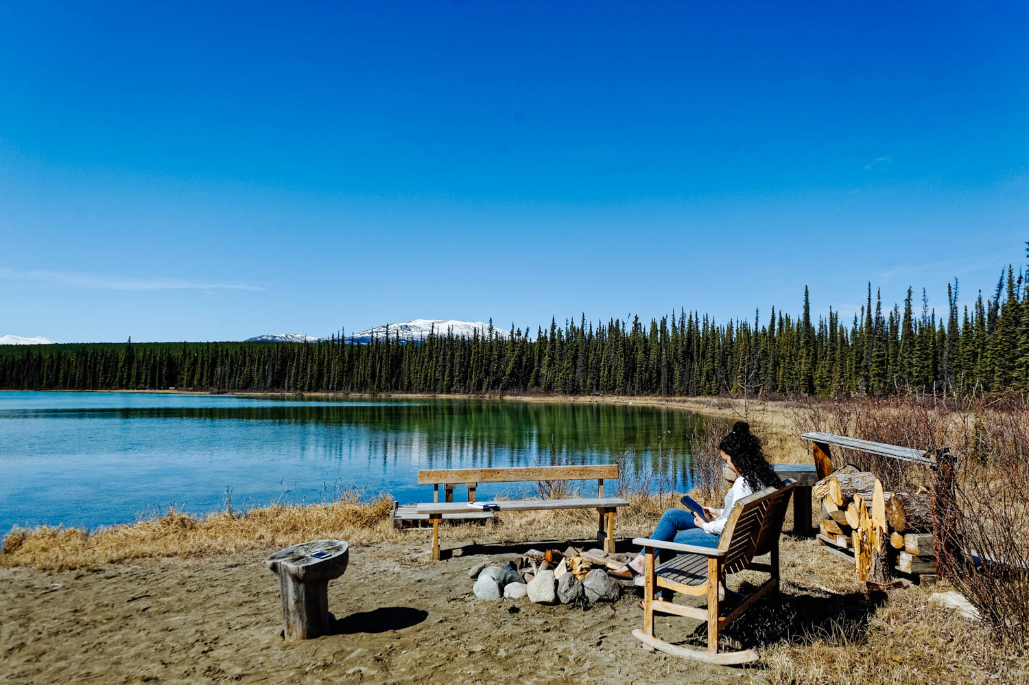 Our friends' beautiful backyard that we are so very glad to be able to enjoy while we are in Whitehorse.