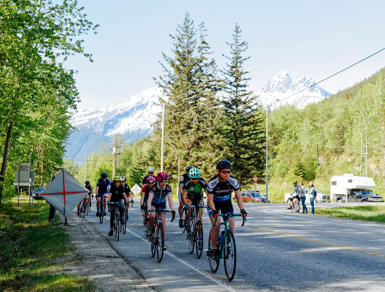 The start of the hill climb on Sunday morning in the green and lush Coastal forest of Skagway, AK.