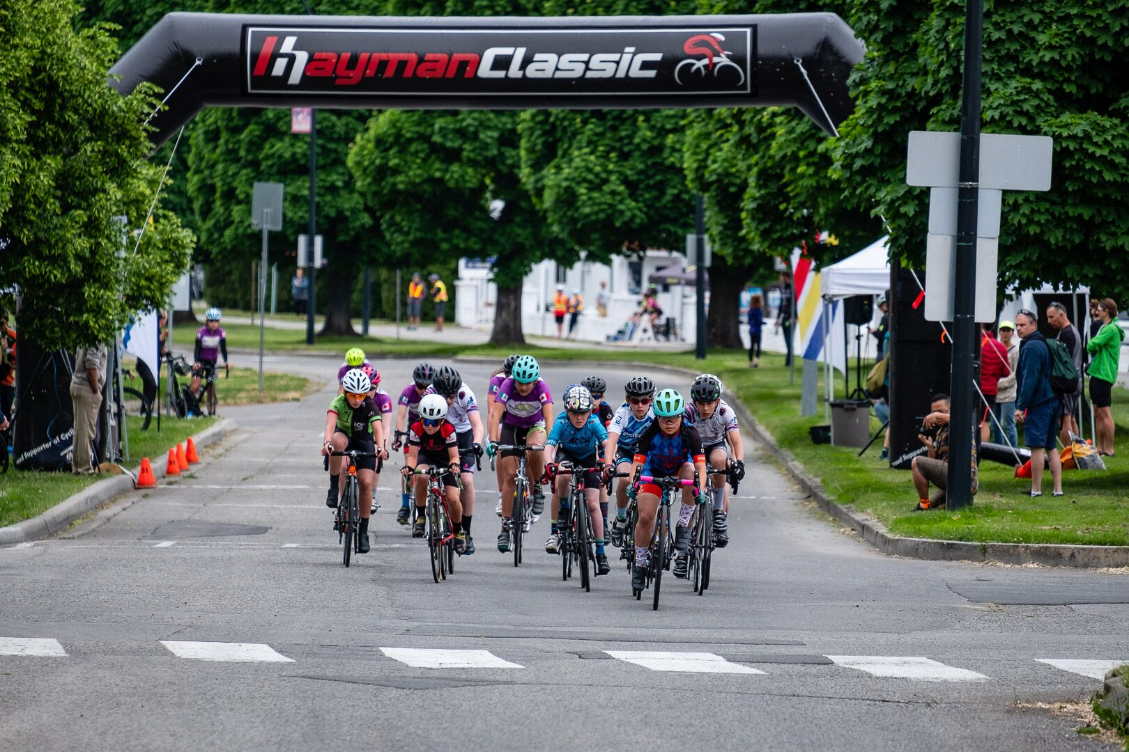 Mathilde (center in purple + turquoise helmet) taking the start of the crit. Photo by Cody W Gannon.