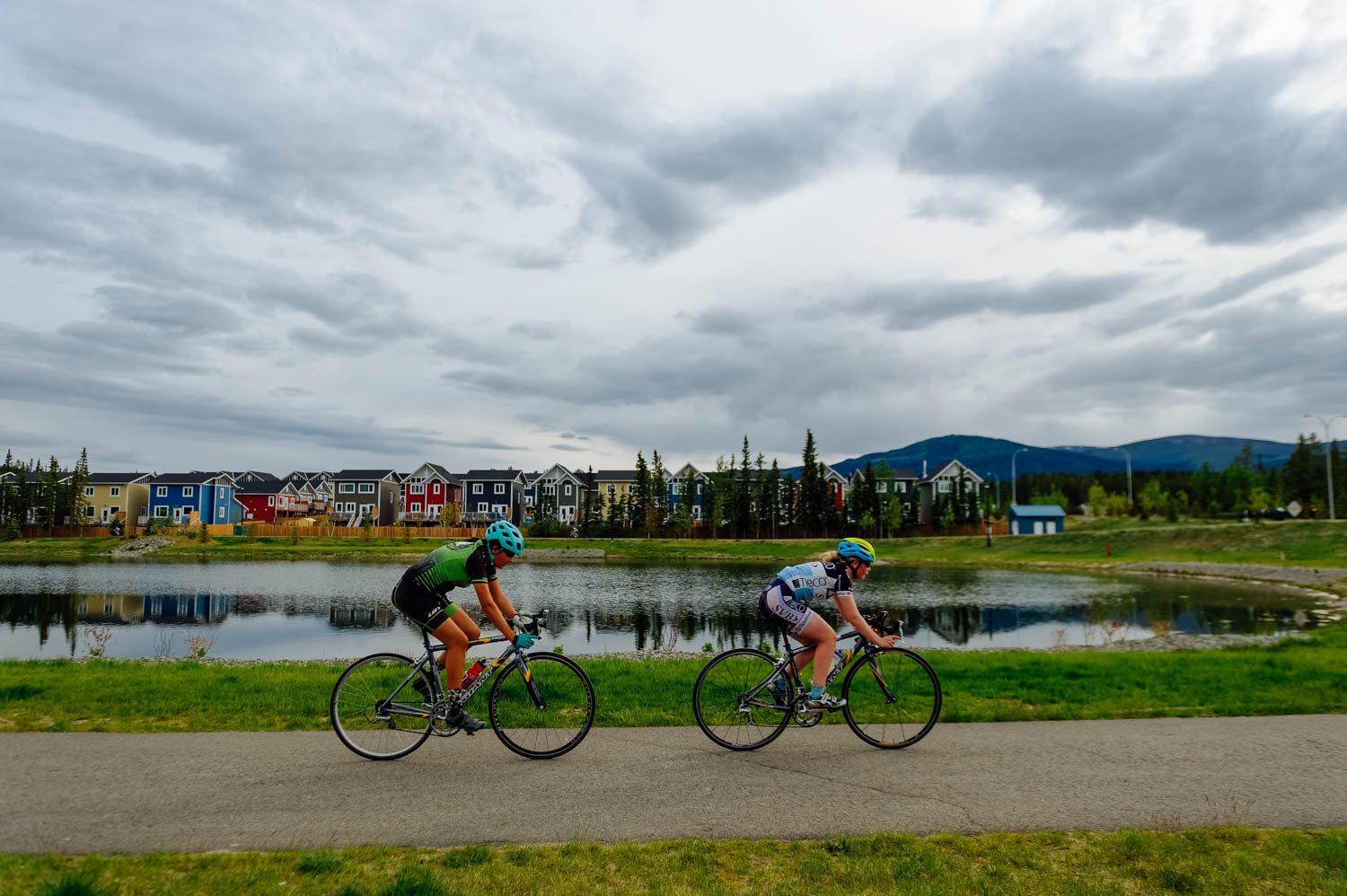 Tori and Mathilde during the Prologue in Whistle Bend on Thursday.