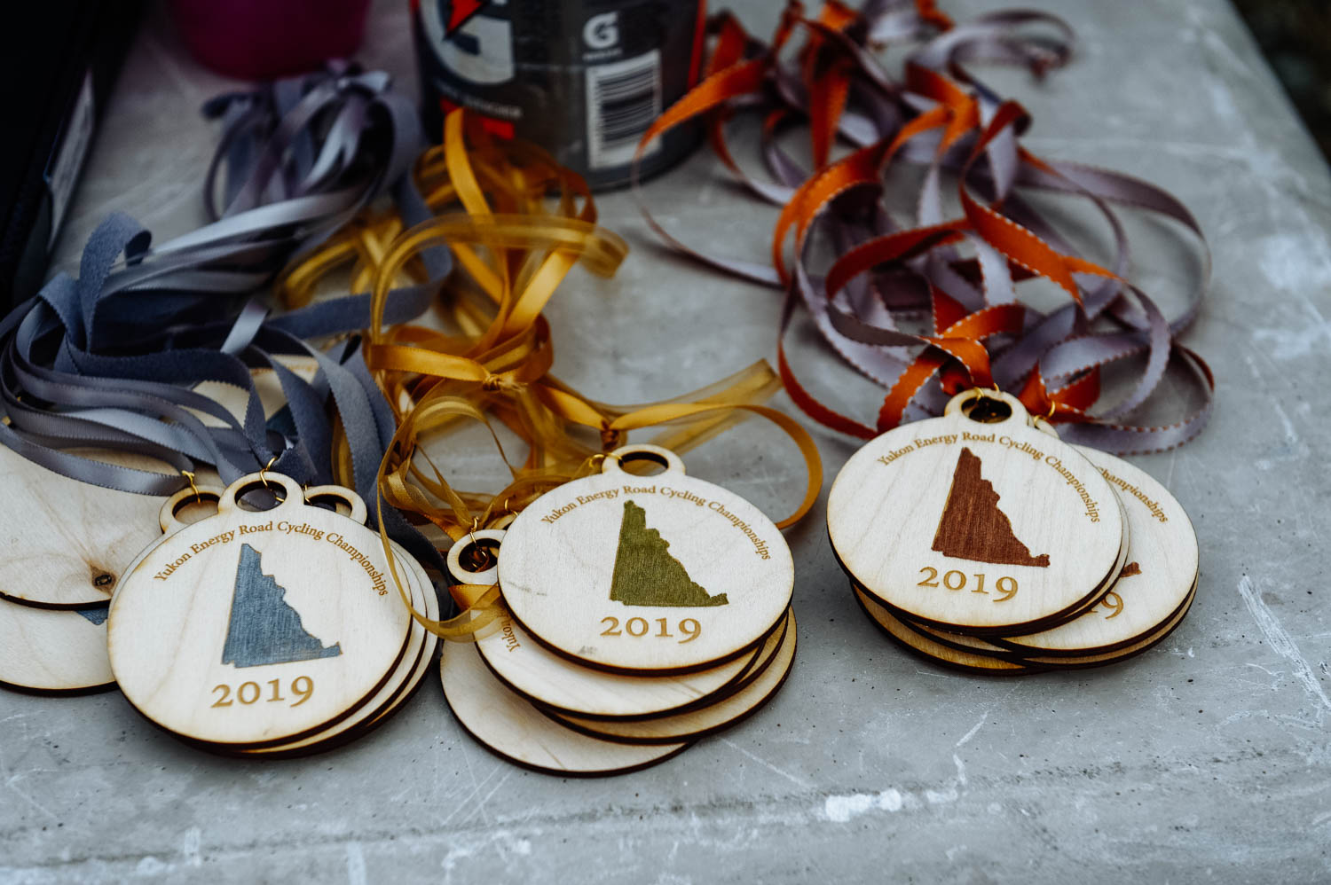 Beautiful wooden medals created by Dave Jackson.