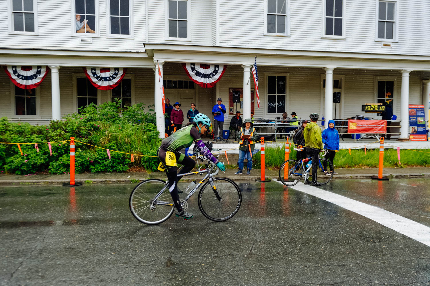 Mathilde crossing the Finish Line in Haines, Alaska.