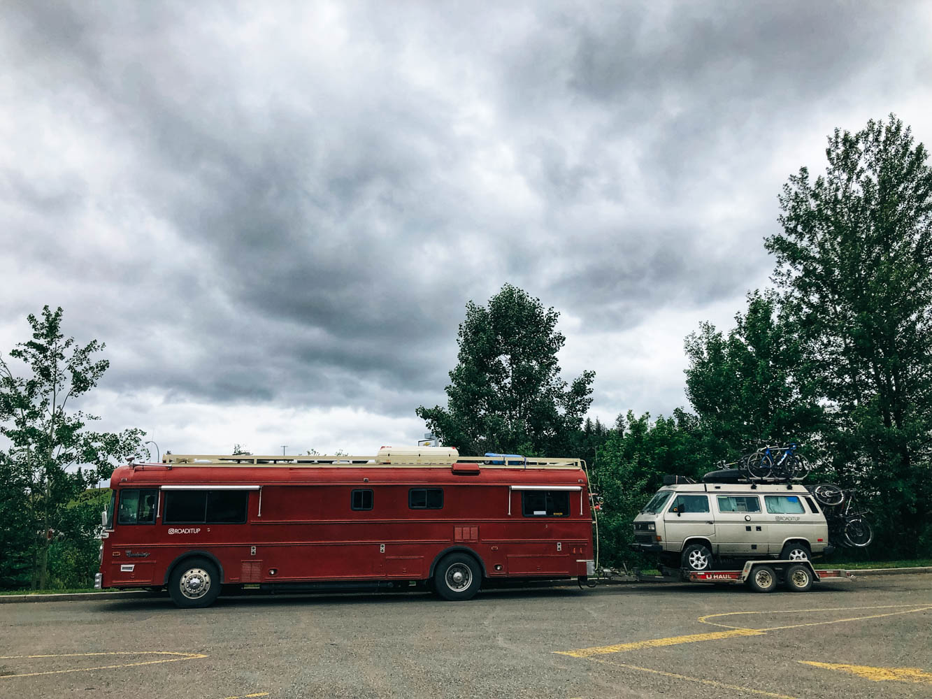 Leaving Burns Lake pulling our broken Westy on a U-Haul platform, still unsure where we will be able to get it fixed and even less when…