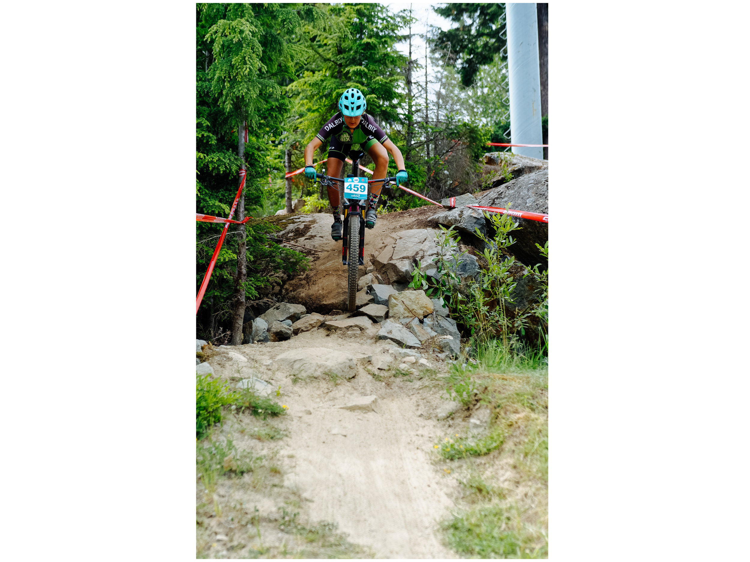Mathilde showing great form on a steep line during the Whistler Canada Cup.