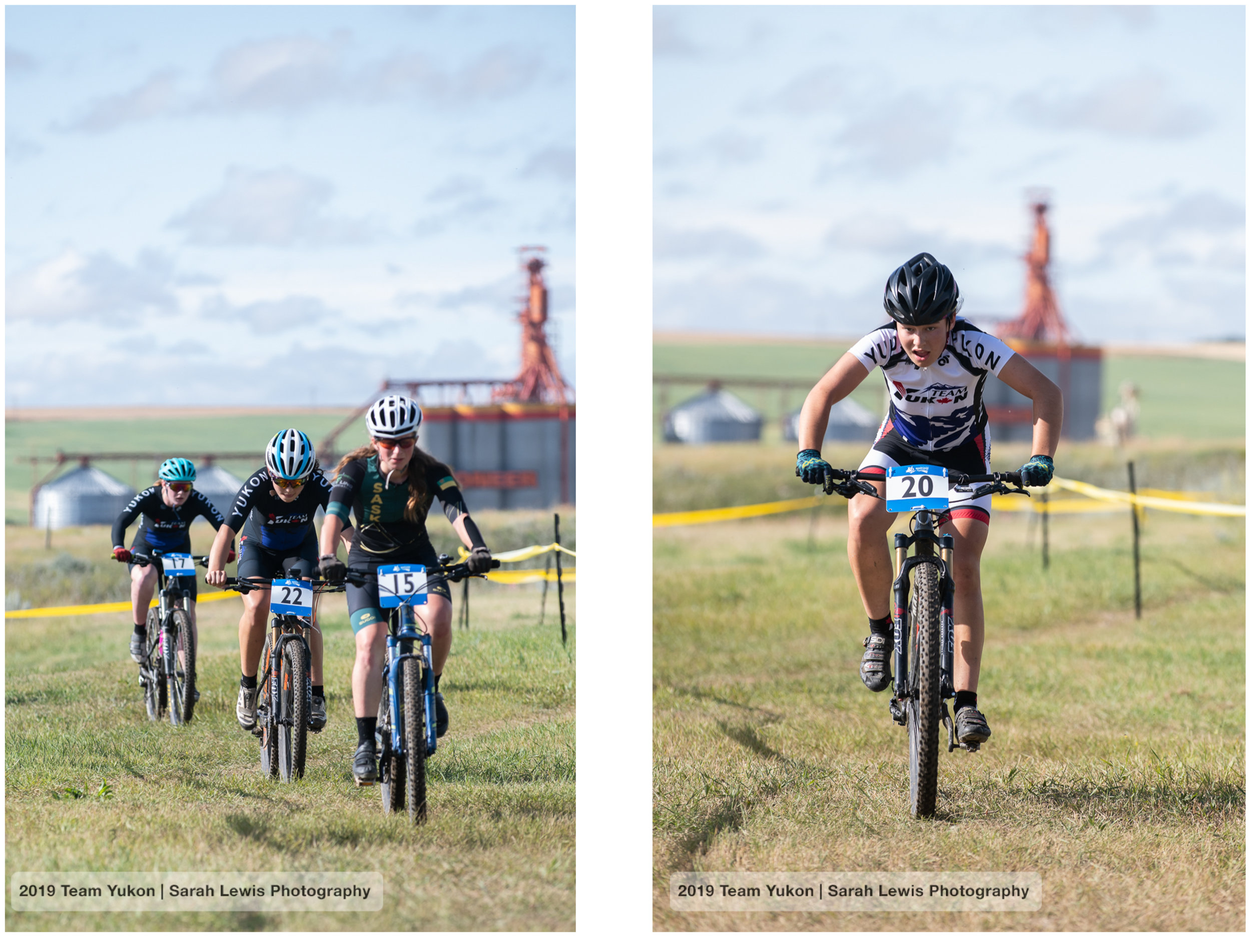 Aïsha (middle), pushing hard to finish 8th on 21 racers. Mara on the right. I love that we see the grain elevator at the back, so Saskatchewan!