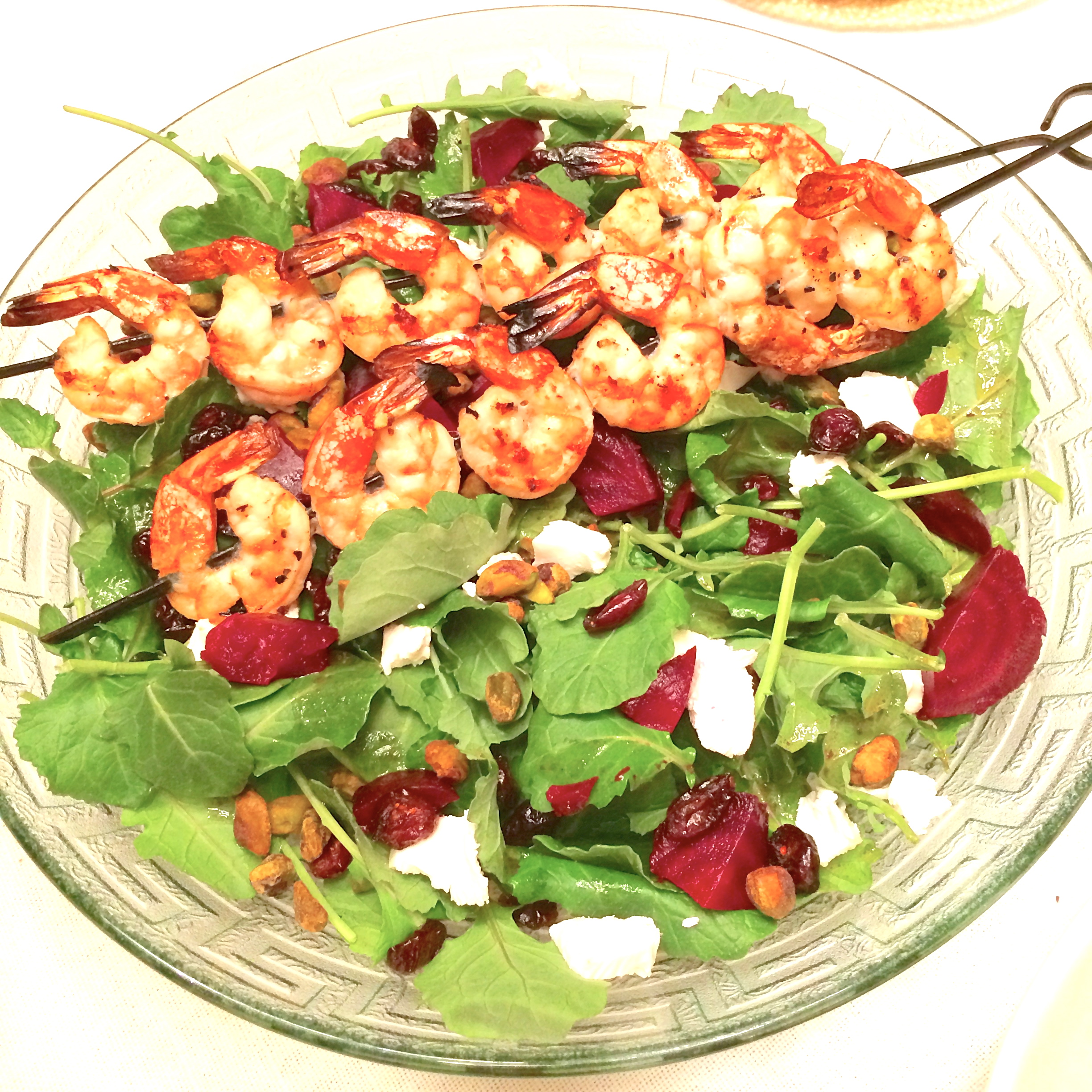 Yummy grain-free meal: grilled shrimp over baby greens, beets, pistachios, cranberries & goat cheese