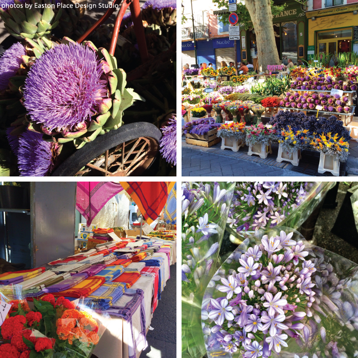 Flowers, flowers, flowers... and linens as far as the eye could see! So many hues of lavender and red.