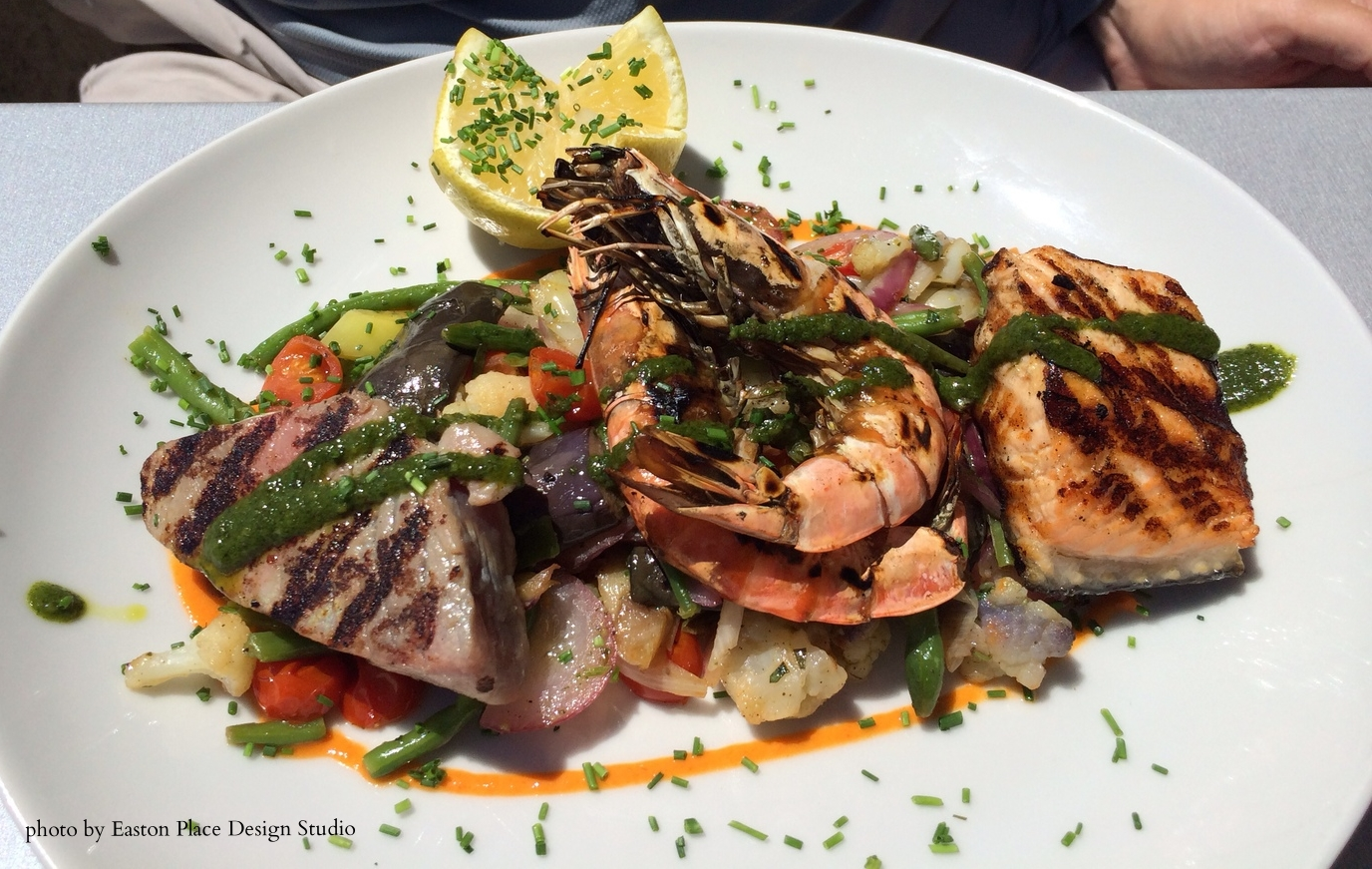 Fresh seafood dish from LA PLAGE BLEUE in Cassis, France