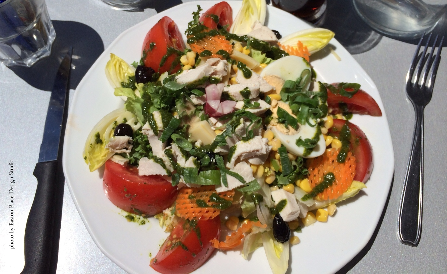 Colorful salad at LA PLAGE BLEUE in Cassis, France