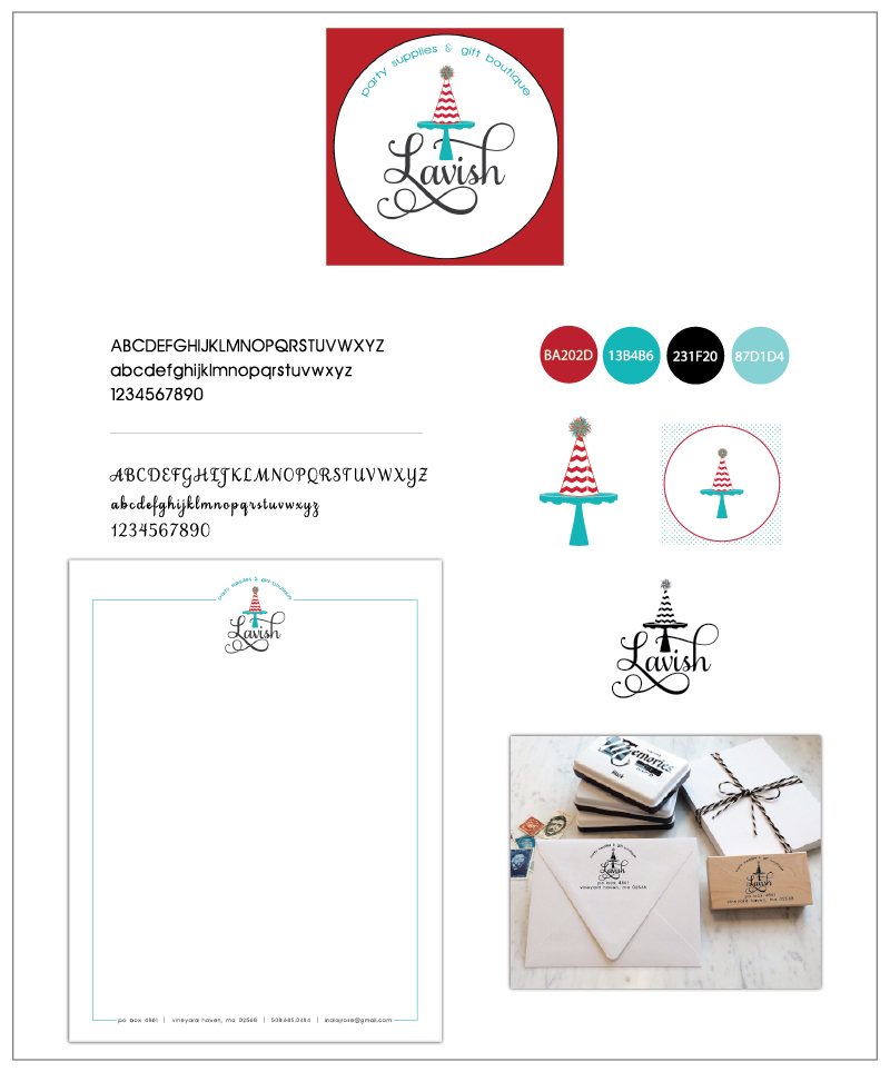 So far the Lavish MV branding package includes the logo, design elements, letterhead, and a custom address stamp.
