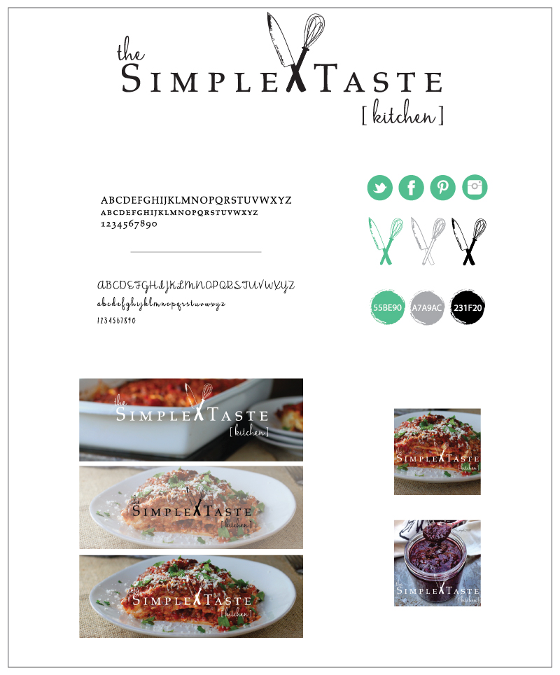 The finished branding board for The Simple Taste Kitchen