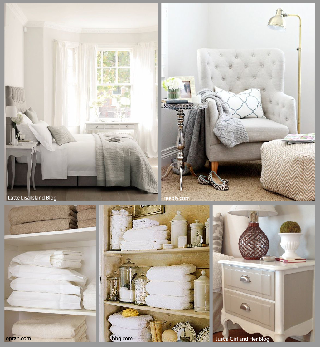 I prefer a neutral color palette for a guest room.