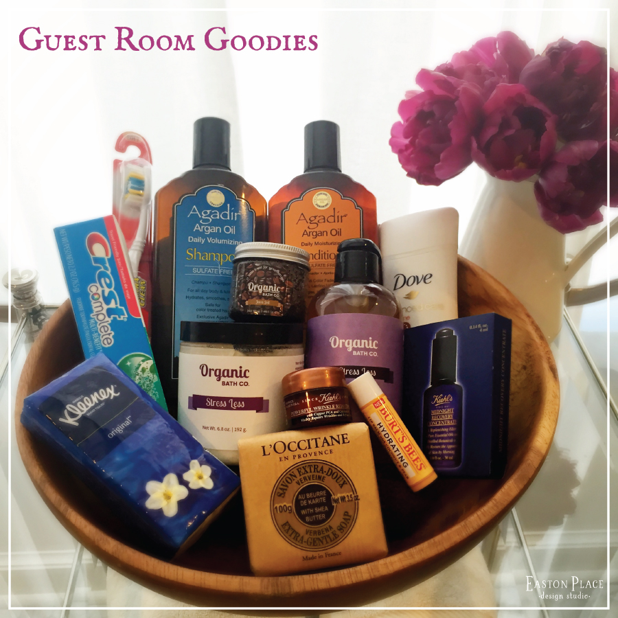 Offer your guests basics as well as specialty soaps, body scrubs and moisturizers!