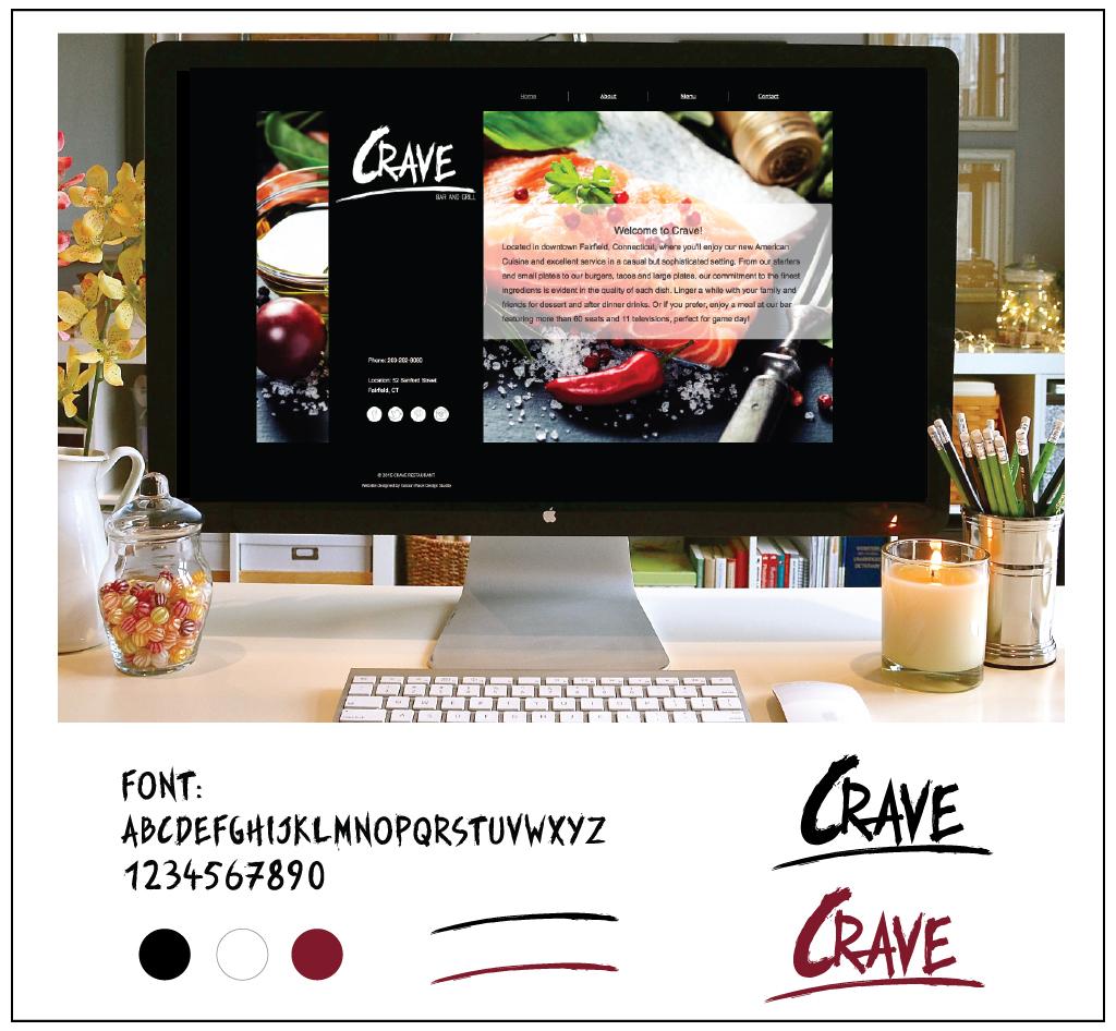 CRAVE restaurant logo elements and web design