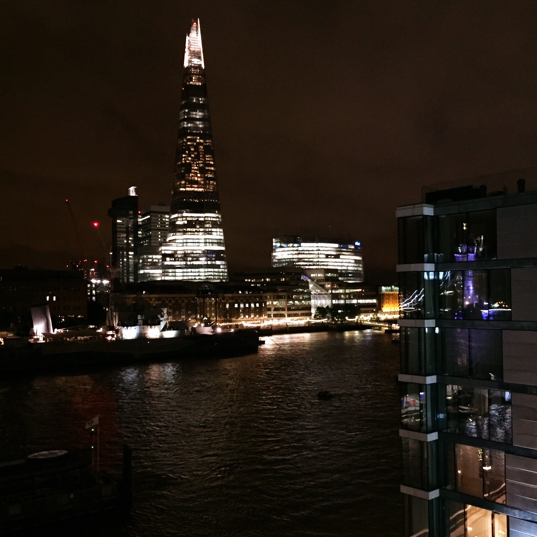 the shard at night. view from our hotel balcony