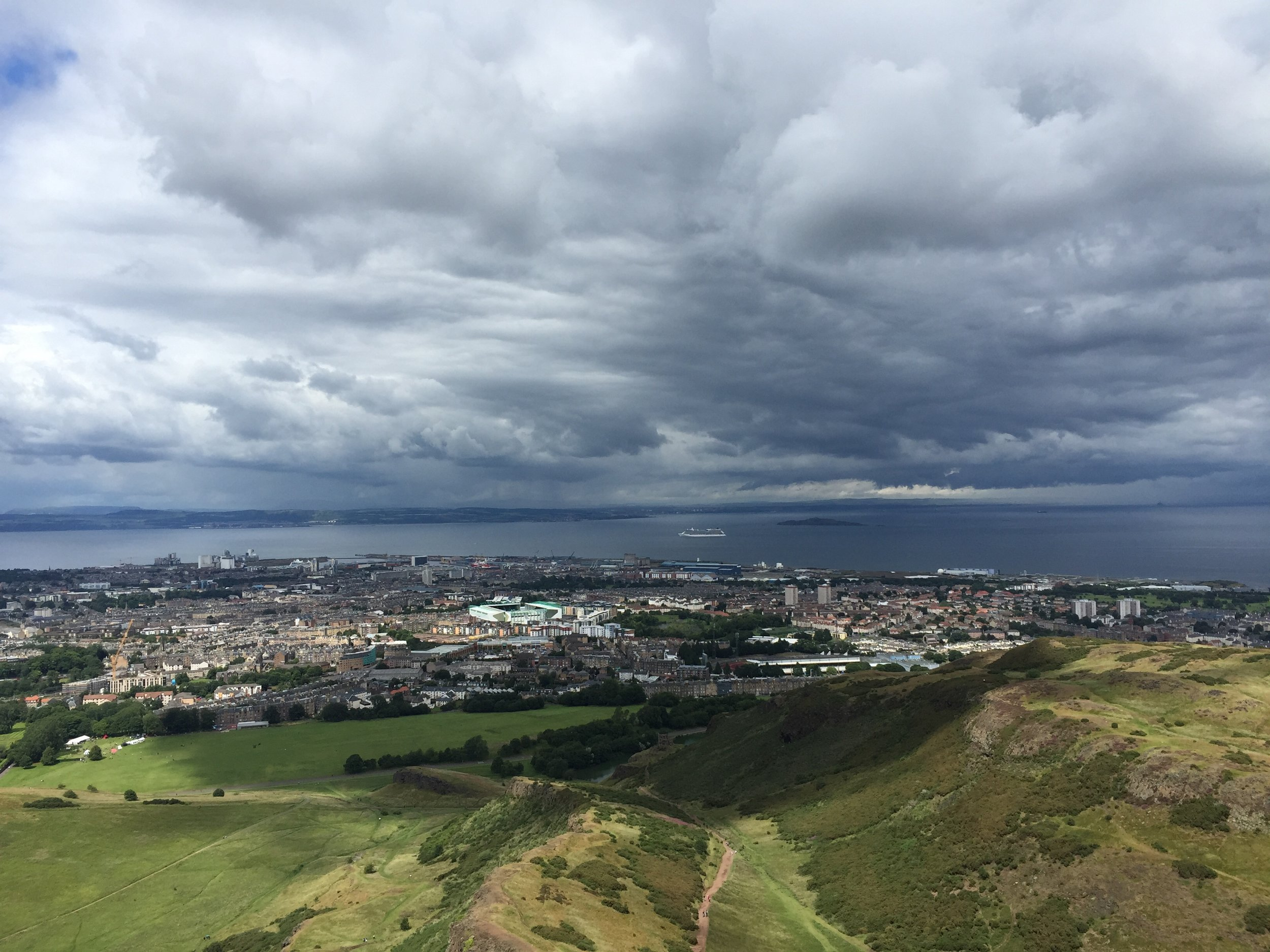 from the top of Arthur's Seat, overlooking all of Edinburgh, Scotland