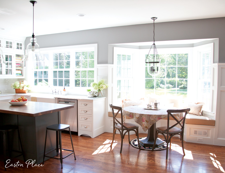 The new space is now bright, light, and cheery! ( Island Lighting  |  Nook Lighting )