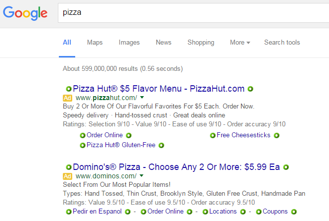 pizza search query with examples of Google AdWords ads